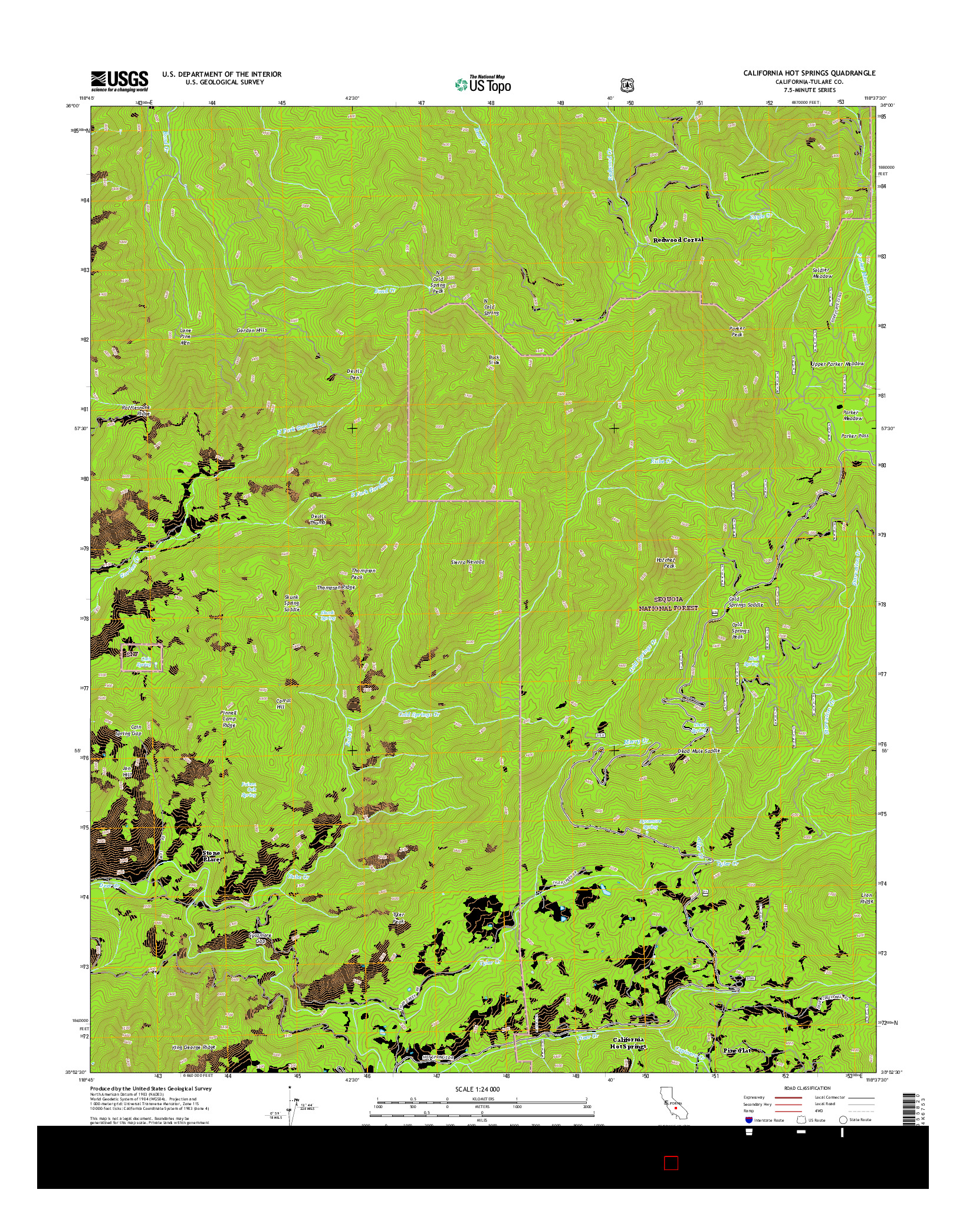 USGS US TOPO 7.5-MINUTE MAP FOR CALIFORNIA HOT SPRINGS, CA 2015