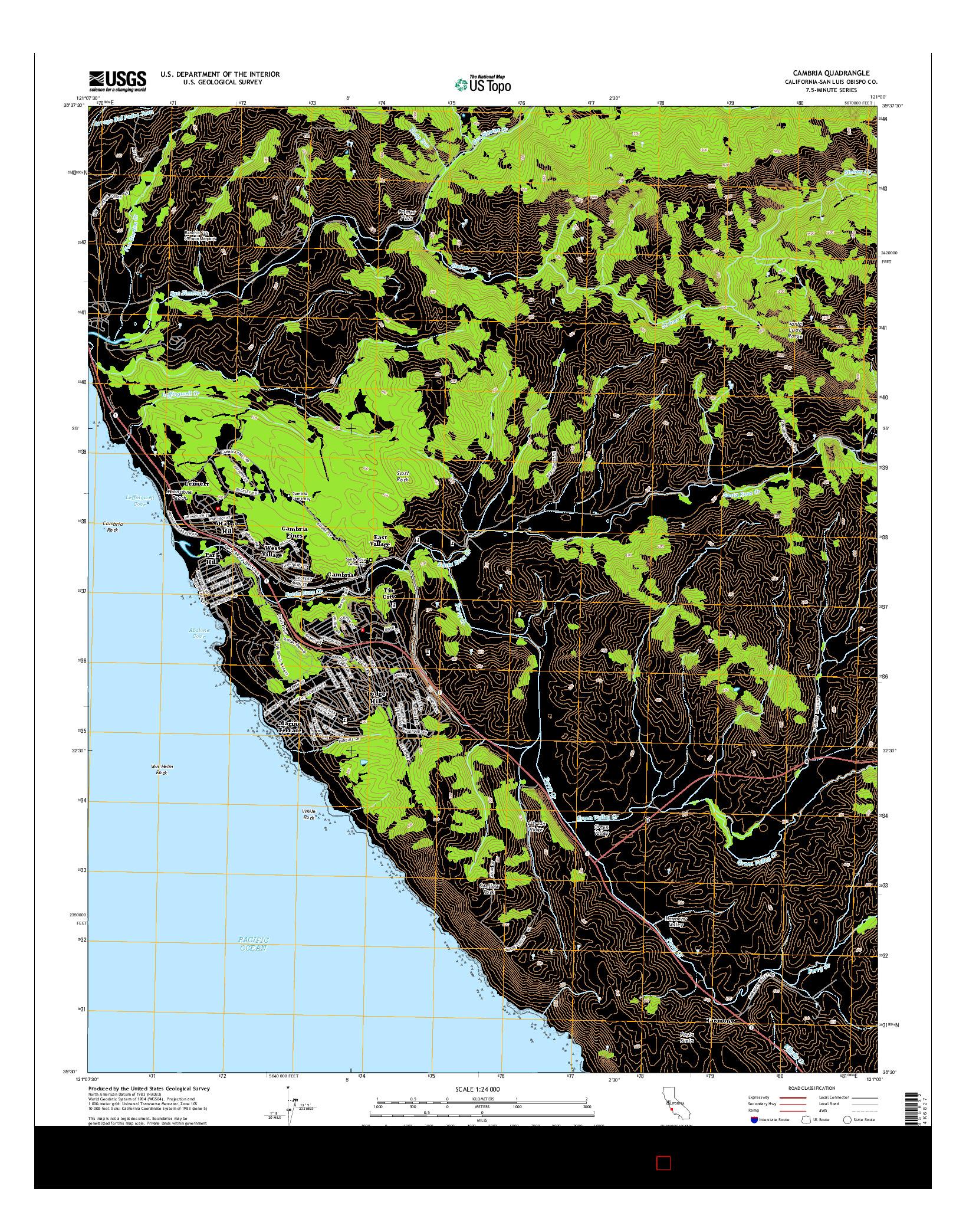 USGS US TOPO 7.5-MINUTE MAP FOR CAMBRIA, CA 2015