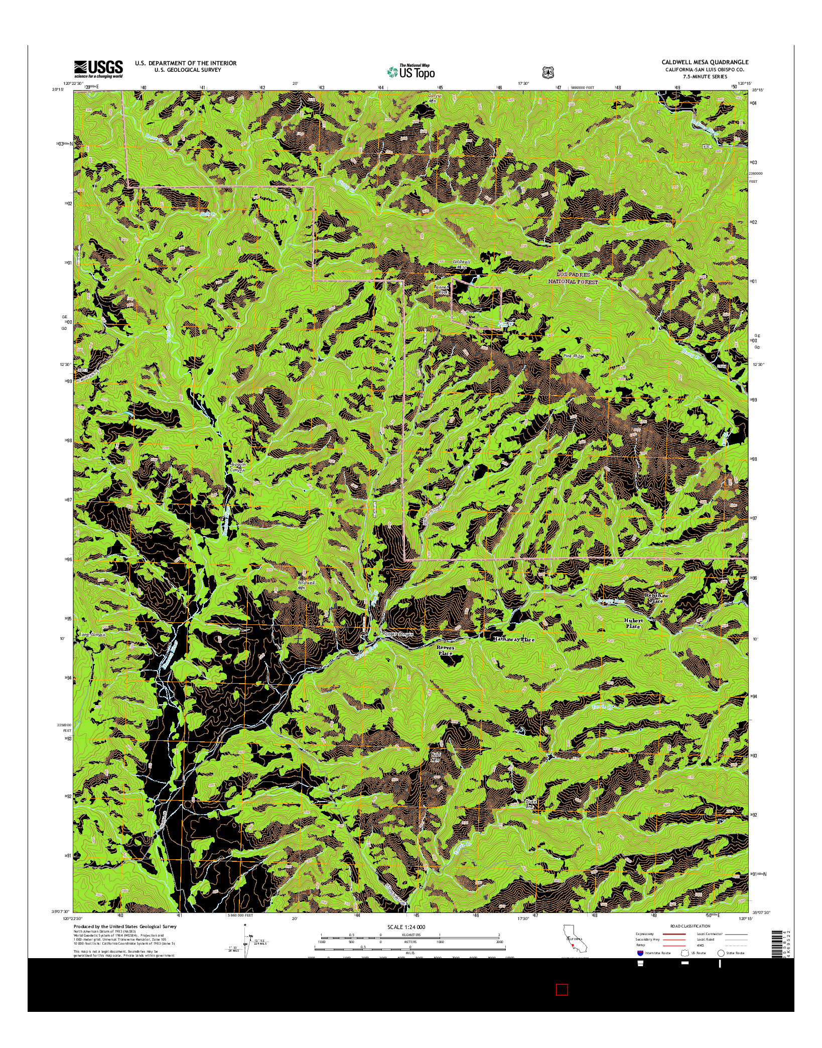USGS US TOPO 7.5-MINUTE MAP FOR CALDWELL MESA, CA 2015