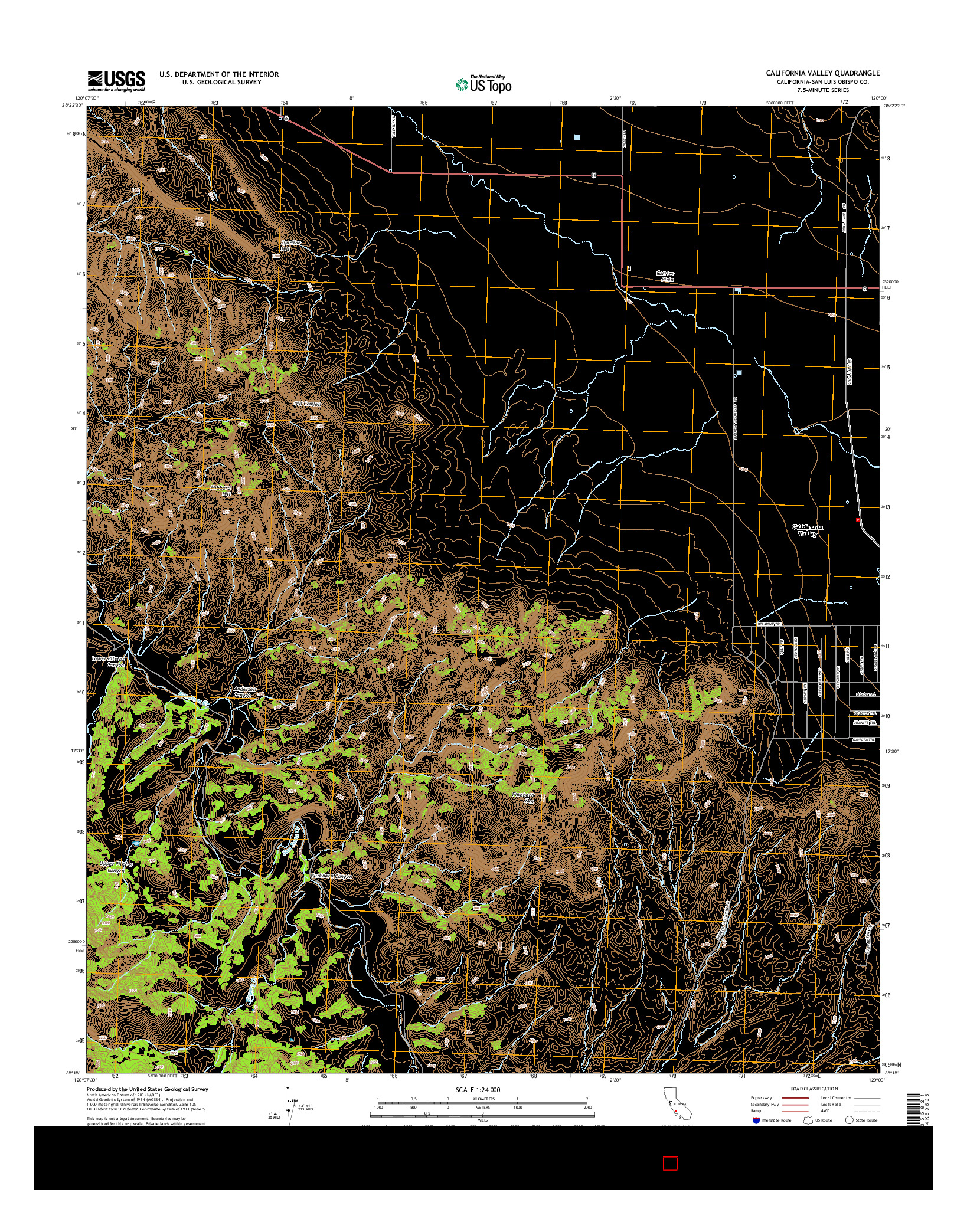 USGS US TOPO 7.5-MINUTE MAP FOR CALIFORNIA VALLEY, CA 2015