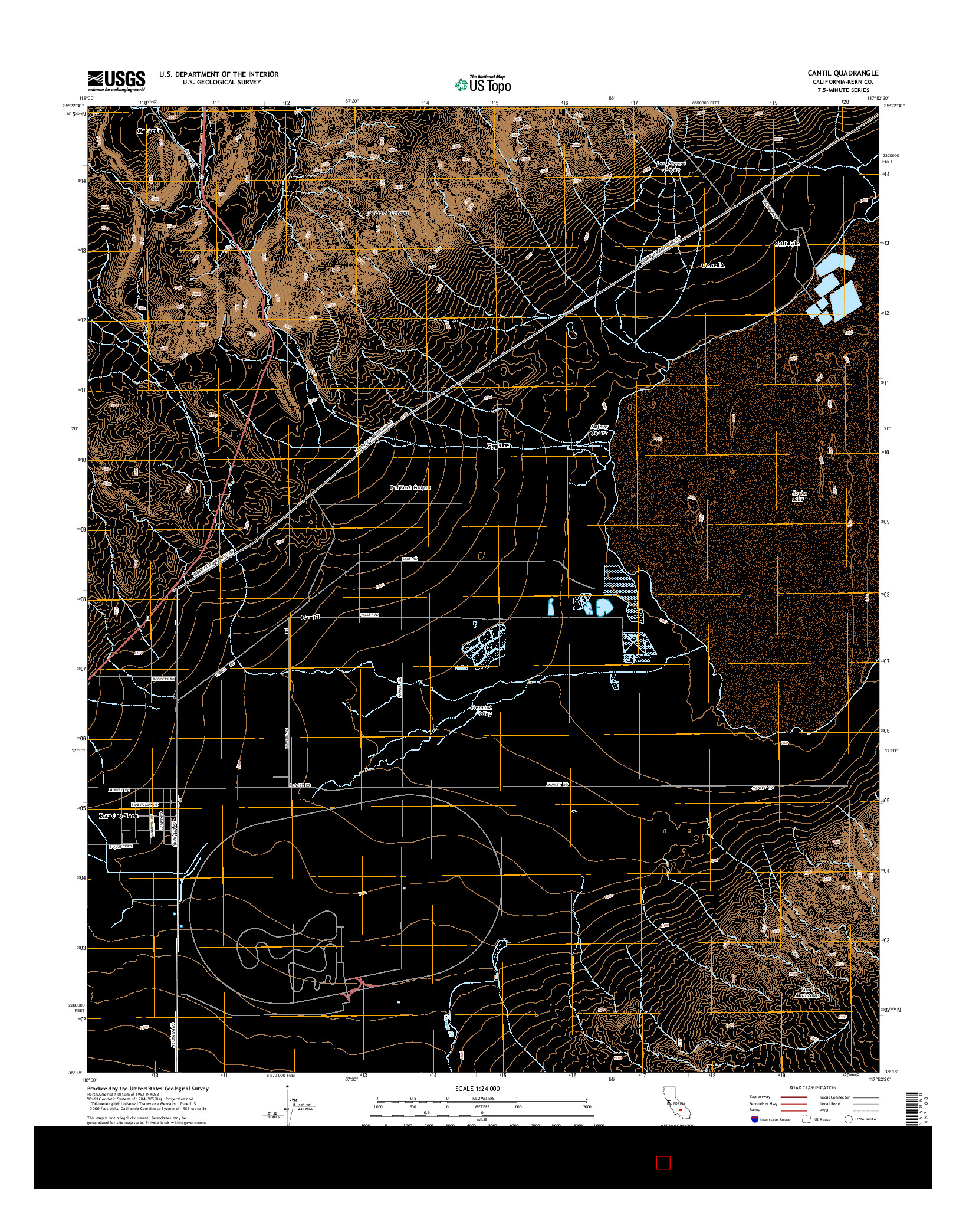 USGS US TOPO 7.5-MINUTE MAP FOR CANTIL, CA 2015