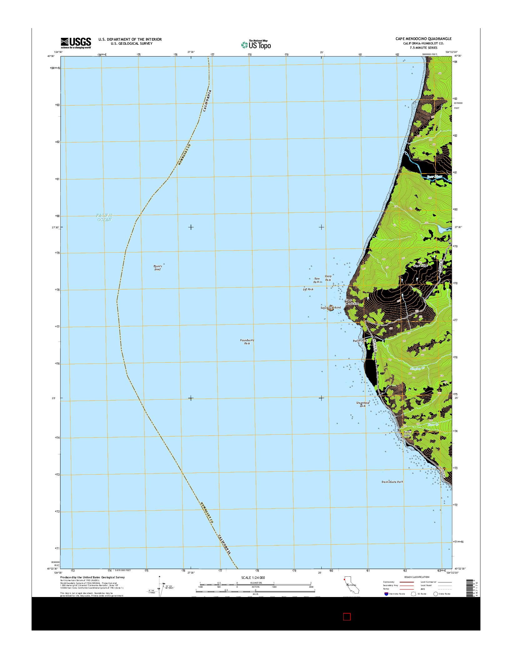USGS US TOPO 7.5-MINUTE MAP FOR CAPE MENDOCINO, CA 2015