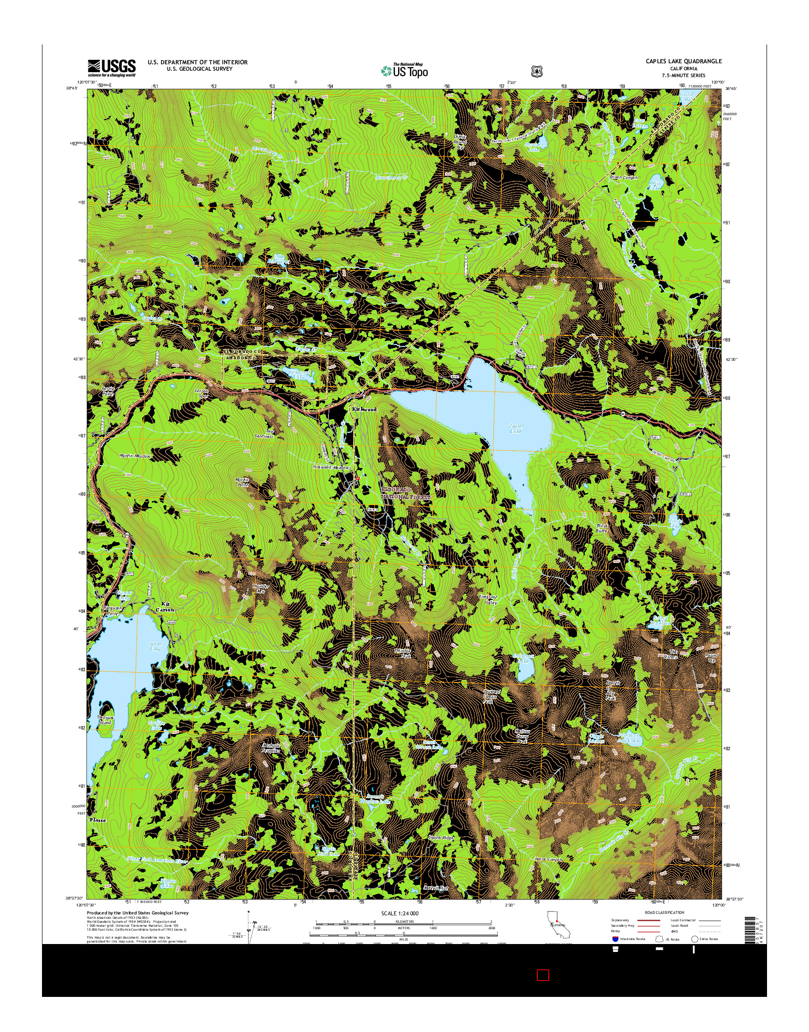 USGS US TOPO 7.5-MINUTE MAP FOR CAPLES LAKE, CA 2015