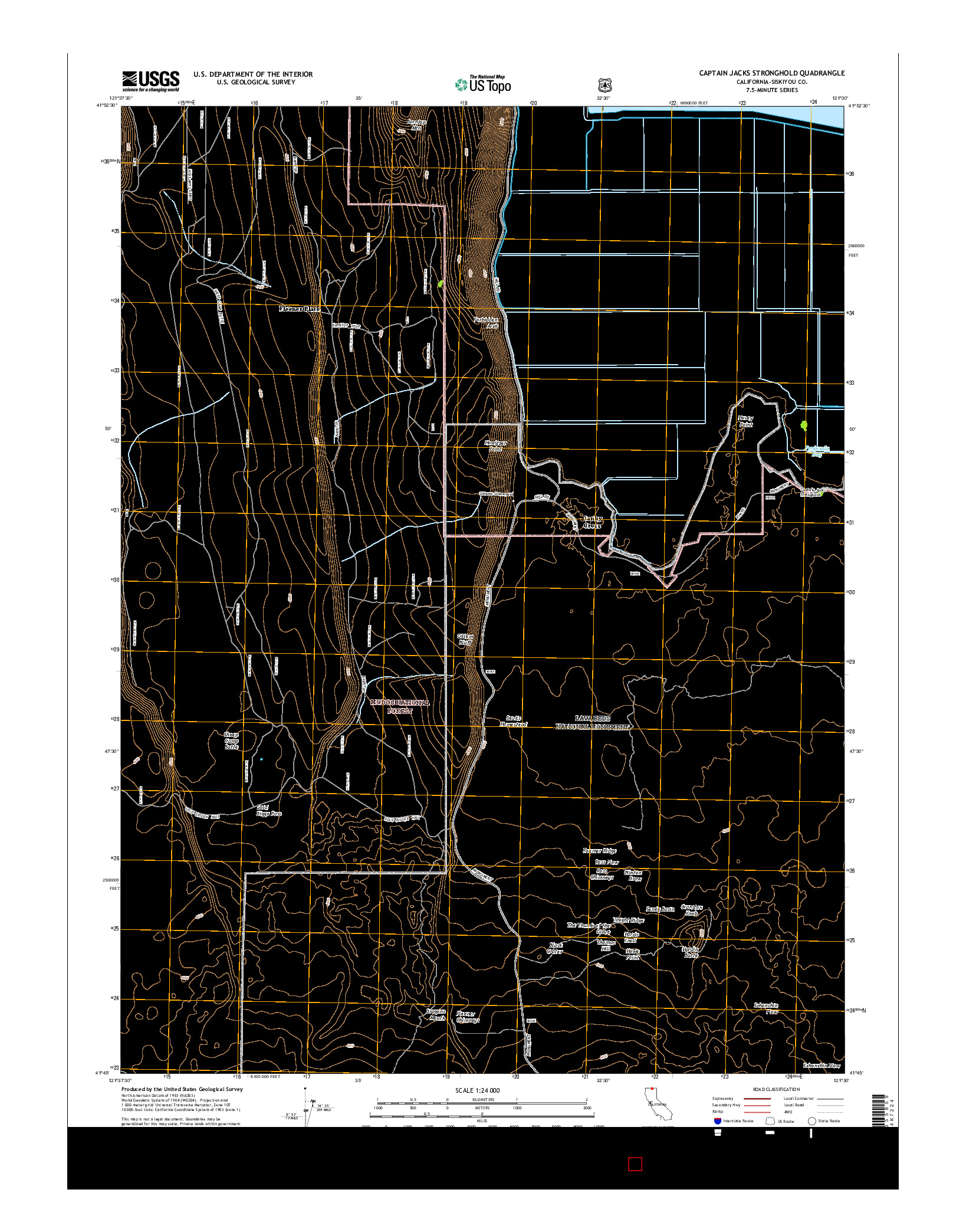 USGS US TOPO 7.5-MINUTE MAP FOR CAPTAIN JACKS STRONGHOLD, CA 2015