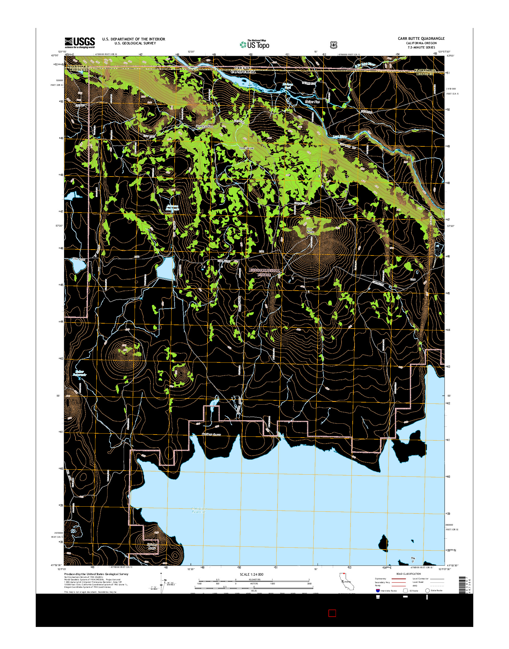 USGS US TOPO 7.5-MINUTE MAP FOR CARR BUTTE, CA-OR 2015