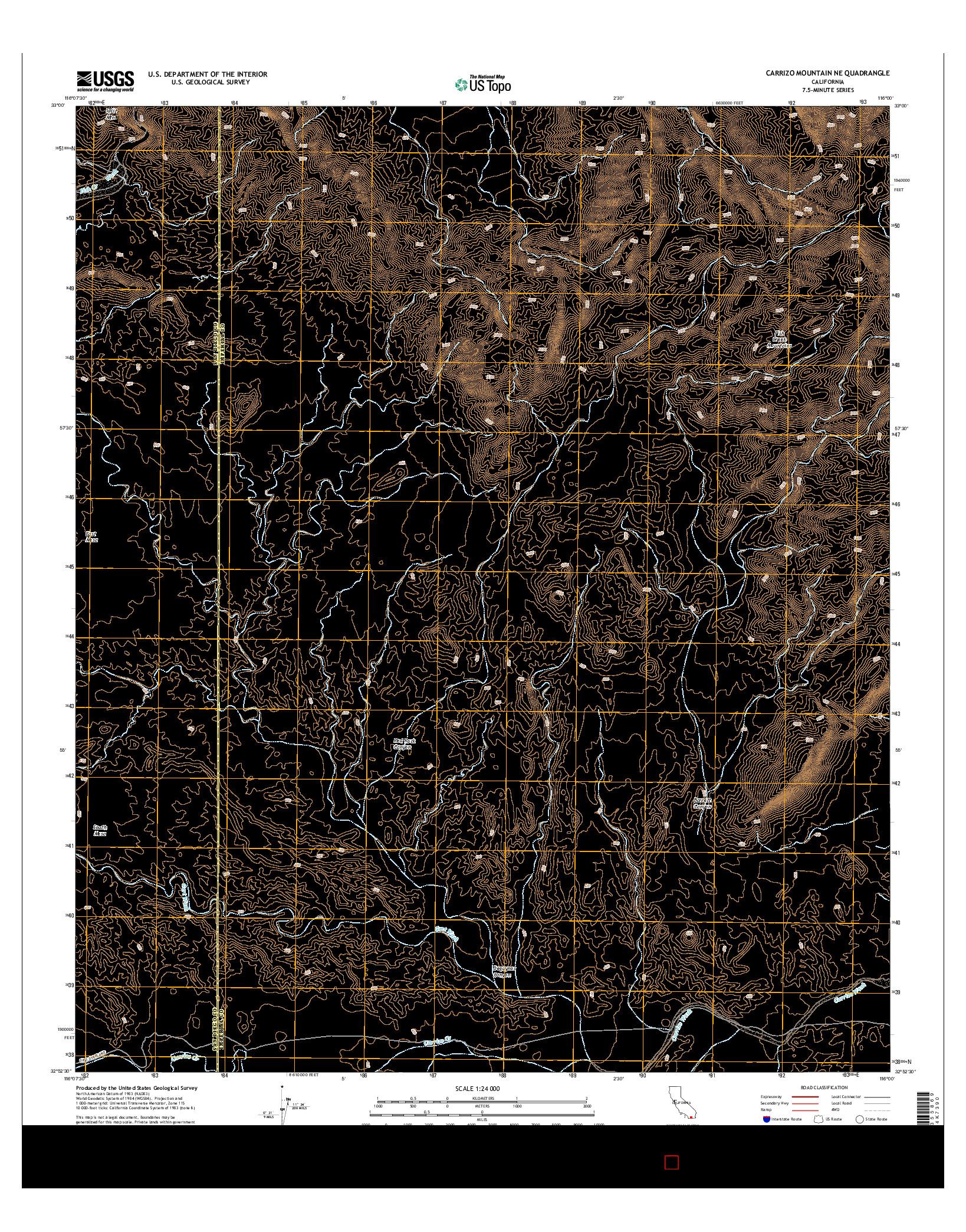 USGS US TOPO 7.5-MINUTE MAP FOR CARRIZO MOUNTAIN NE, CA 2015