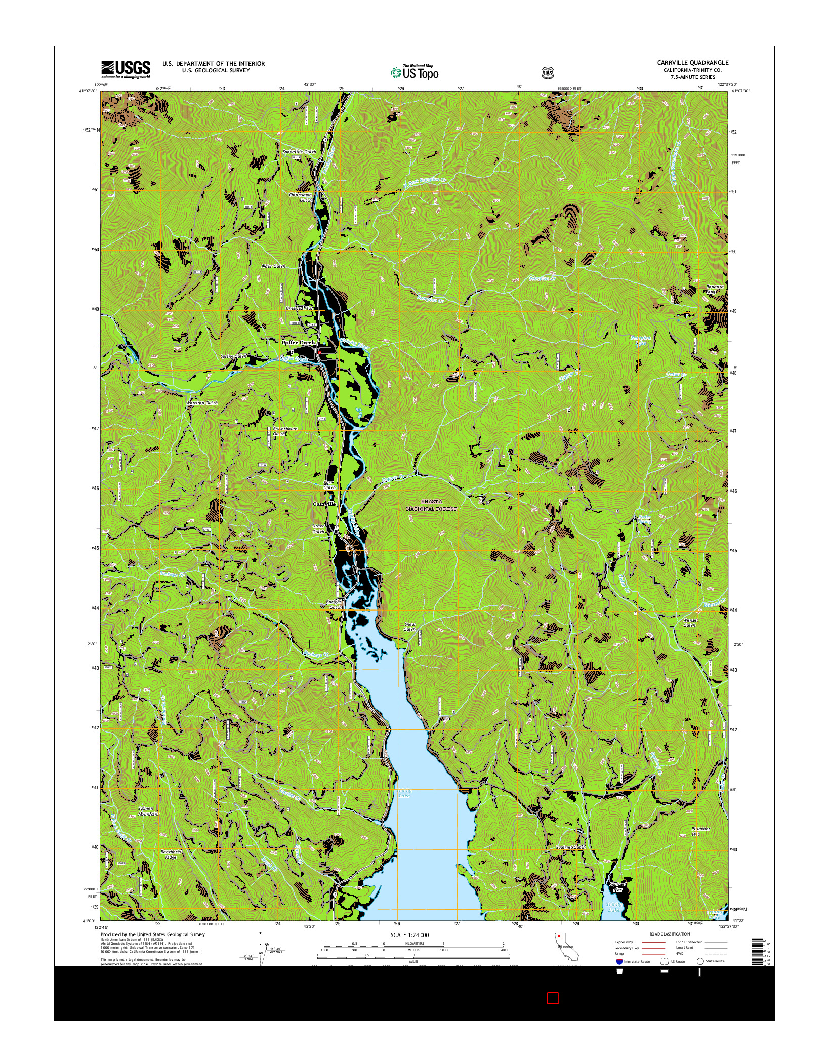 USGS US TOPO 7.5-MINUTE MAP FOR CARRVILLE, CA 2015