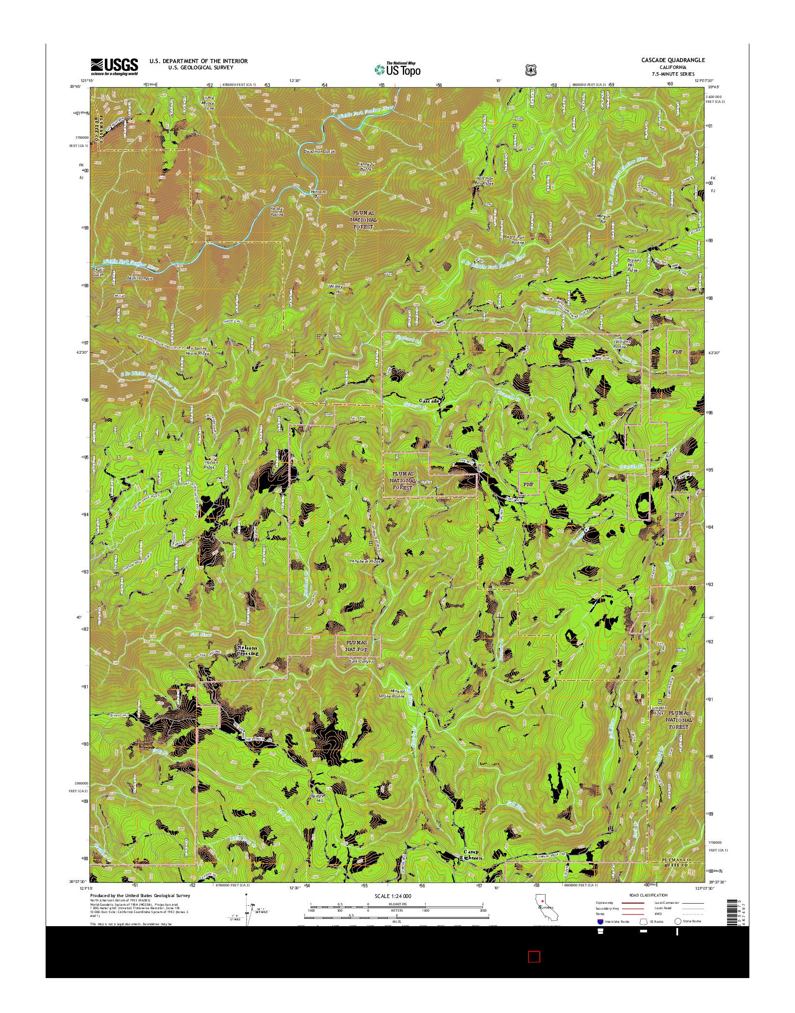USGS US TOPO 7.5-MINUTE MAP FOR CASCADE, CA 2015