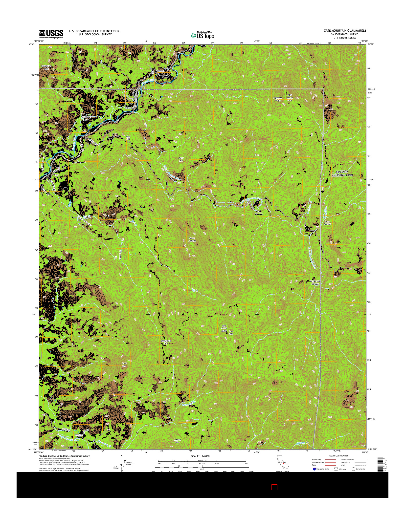USGS US TOPO 7.5-MINUTE MAP FOR CASE MOUNTAIN, CA 2015