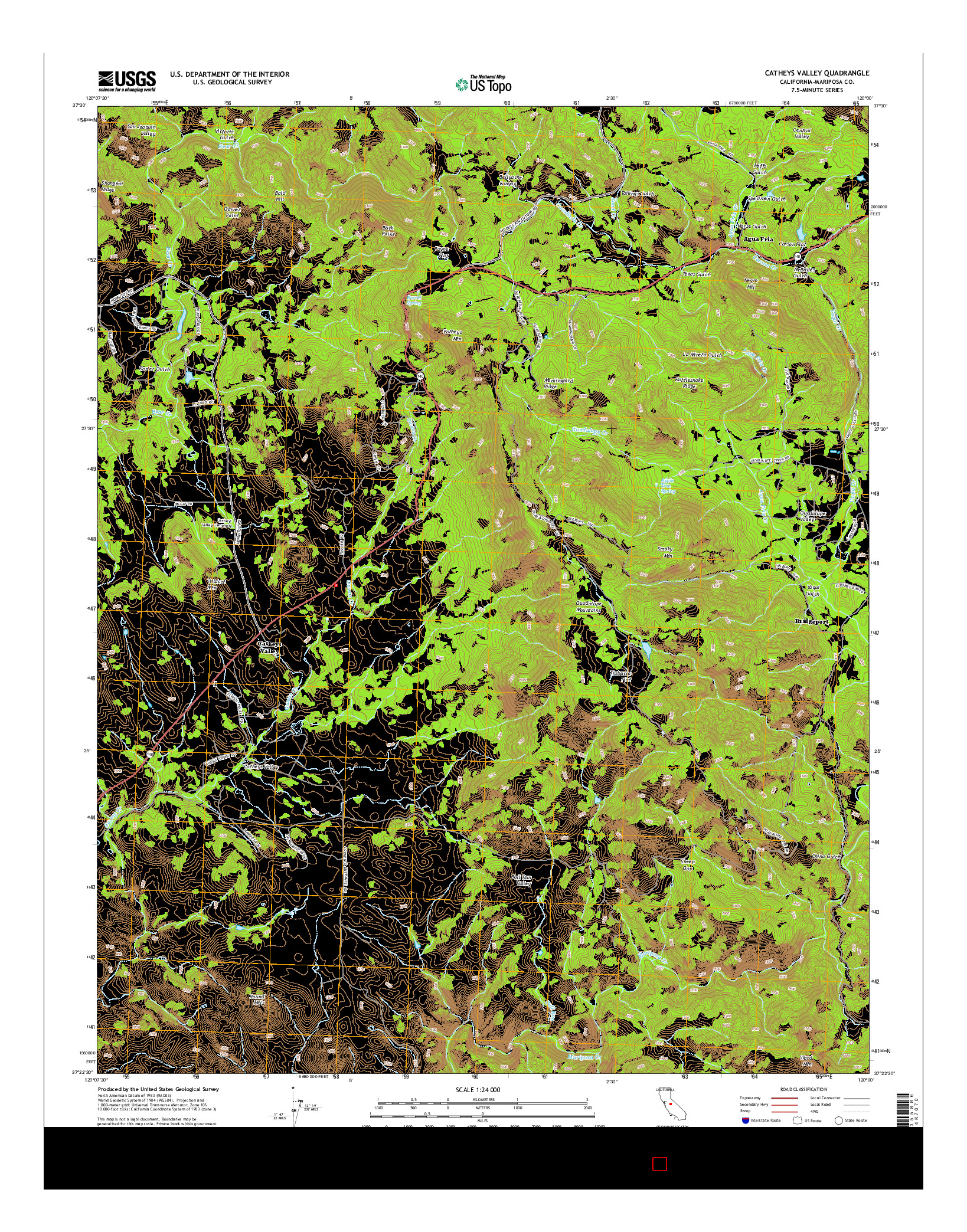 USGS US TOPO 7.5-MINUTE MAP FOR CATHEYS VALLEY, CA 2015