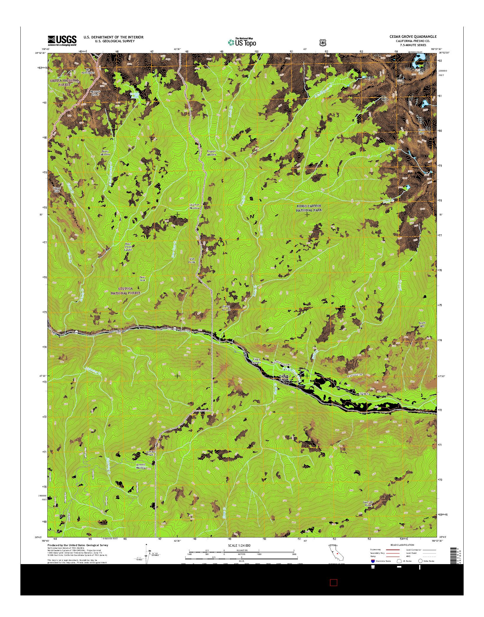 USGS US TOPO 7.5-MINUTE MAP FOR CEDAR GROVE, CA 2015