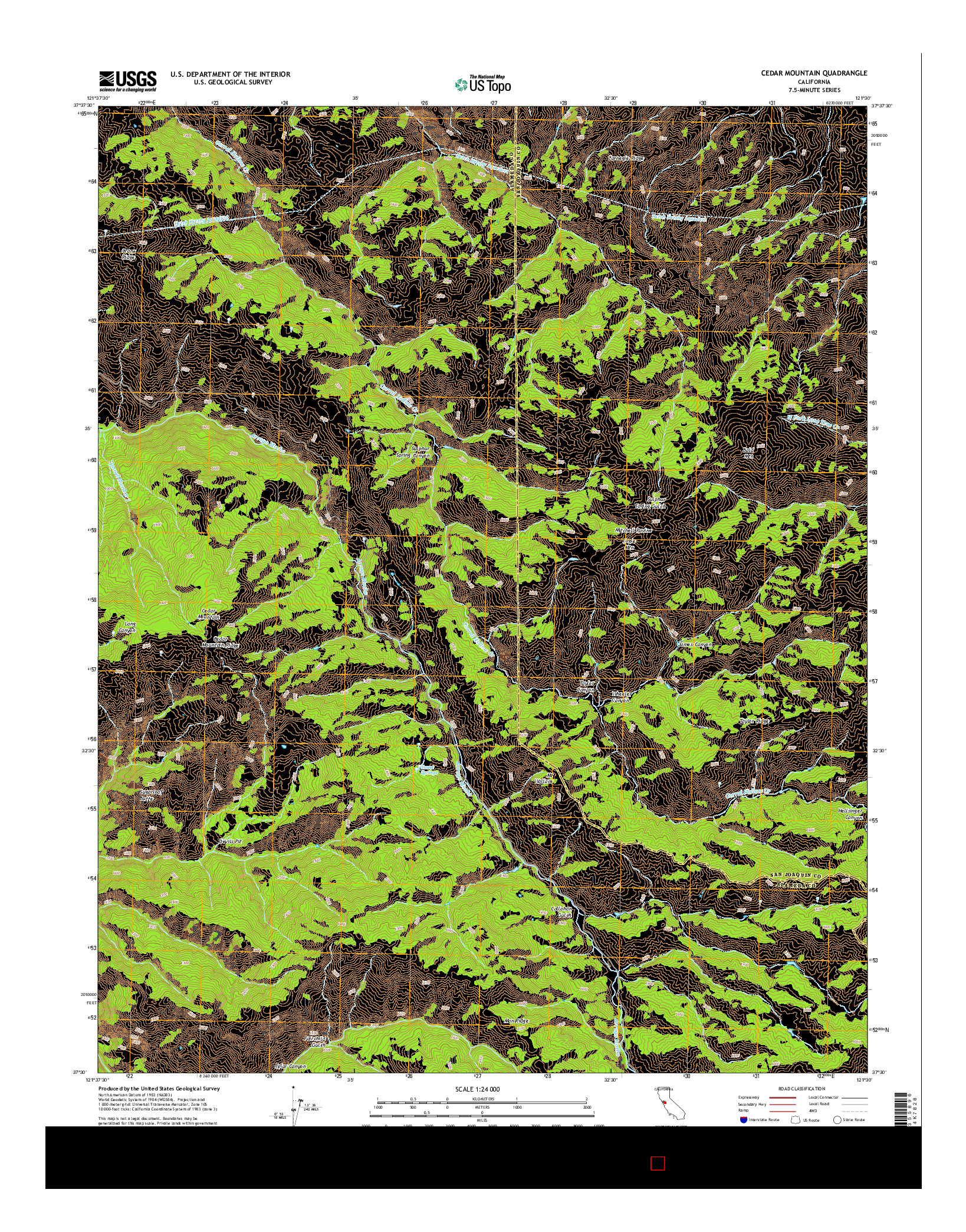 USGS US TOPO 7.5-MINUTE MAP FOR CEDAR MOUNTAIN, CA 2015