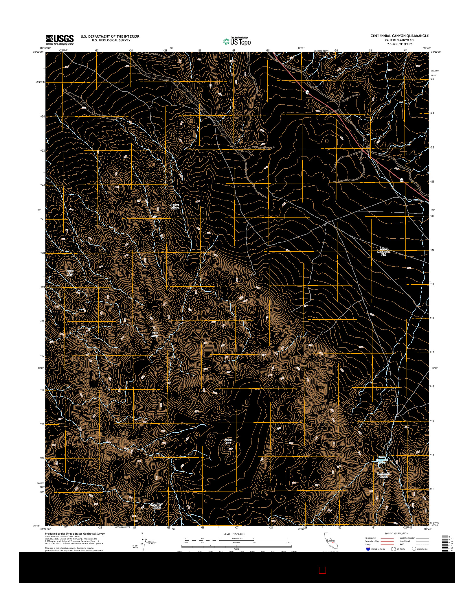 USGS US TOPO 7.5-MINUTE MAP FOR CENTENNIAL CANYON, CA 2015