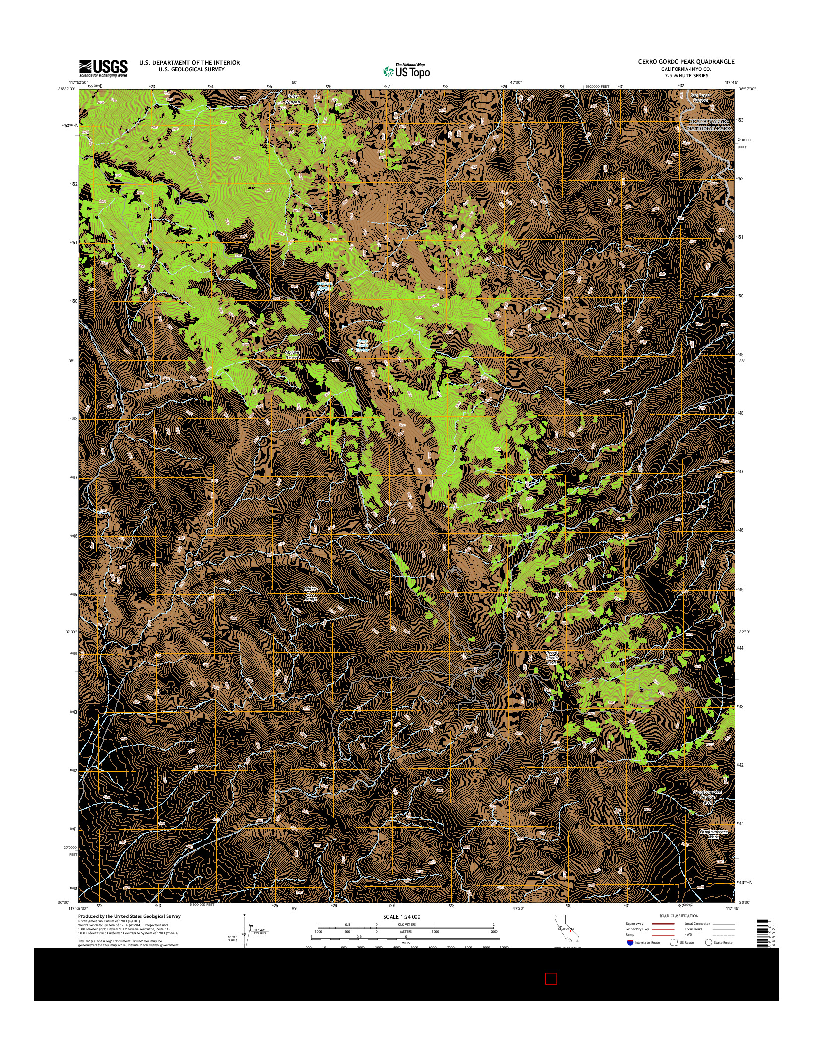 USGS US TOPO 7.5-MINUTE MAP FOR CERRO GORDO PEAK, CA 2015