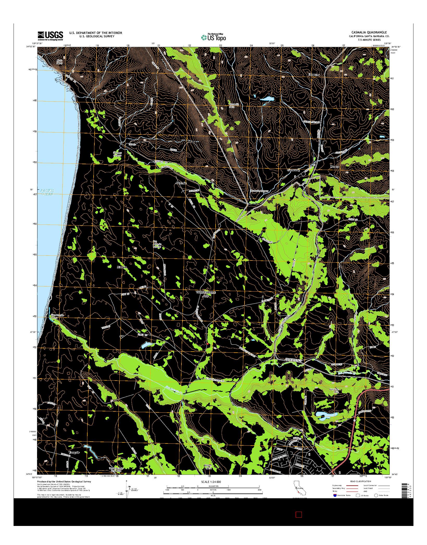 USGS US TOPO 7.5-MINUTE MAP FOR CASMALIA, CA 2015