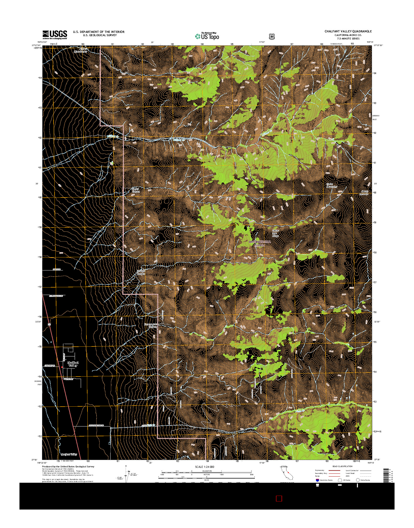 USGS US TOPO 7.5-MINUTE MAP FOR CHALFANT VALLEY, CA 2015