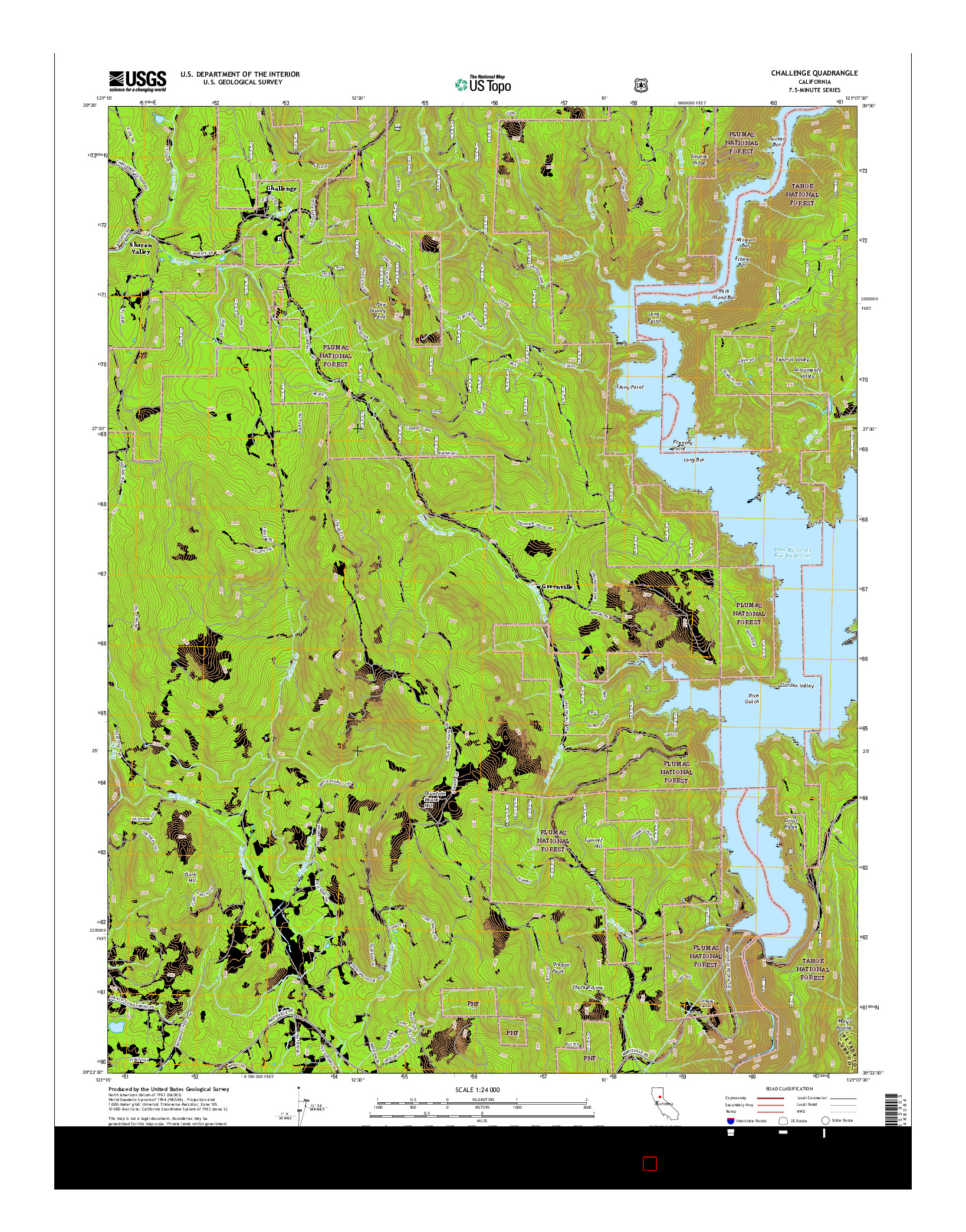 USGS US TOPO 7.5-MINUTE MAP FOR CHALLENGE, CA 2015