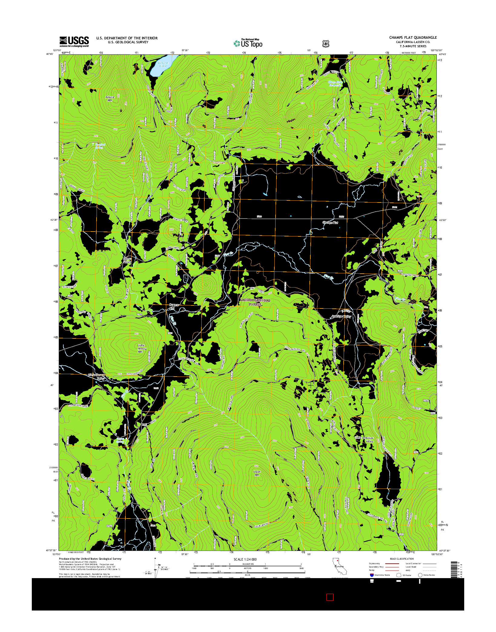 USGS US TOPO 7.5-MINUTE MAP FOR CHAMPS FLAT, CA 2015
