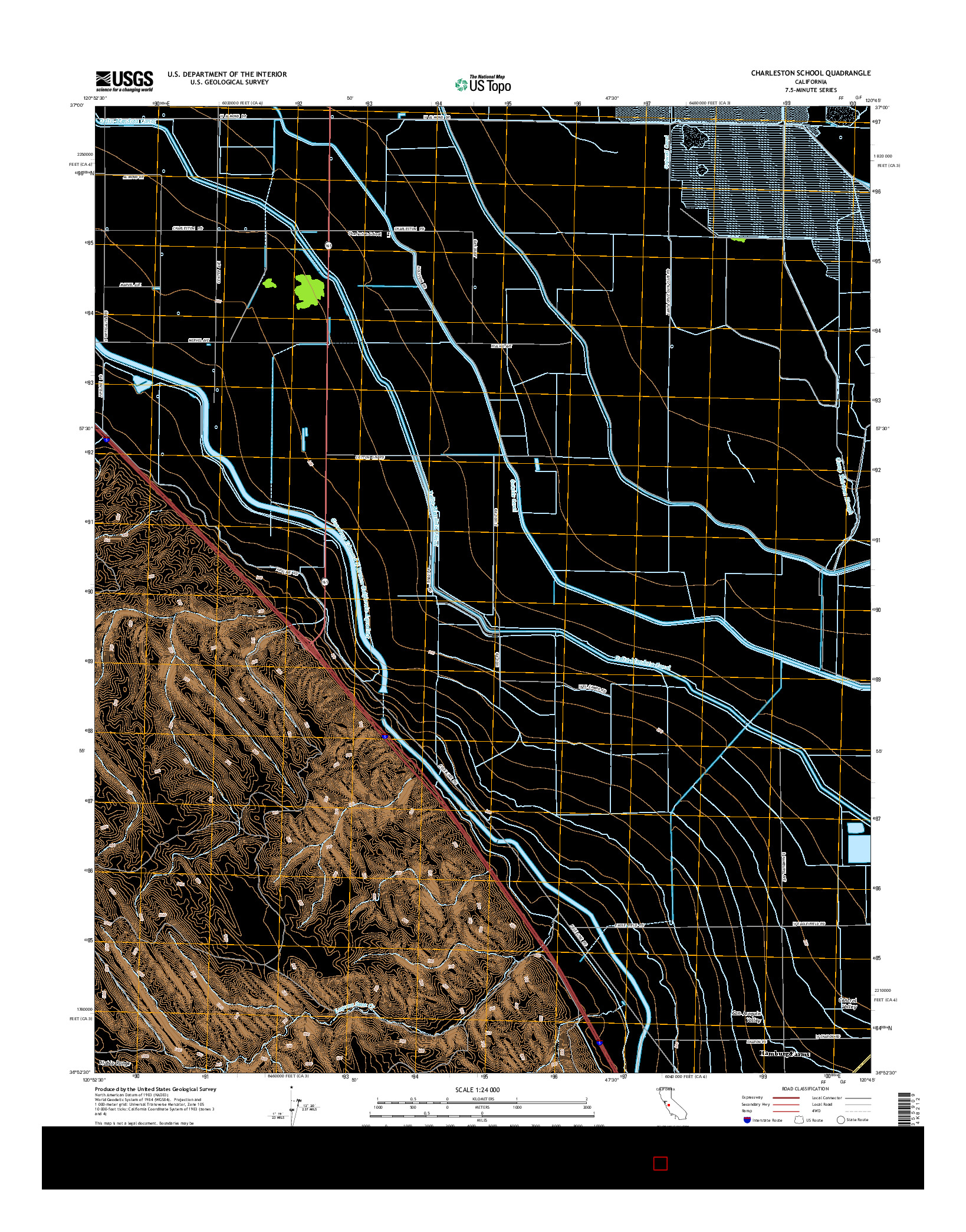 USGS US TOPO 7.5-MINUTE MAP FOR CHARLESTON SCHOOL, CA 2015