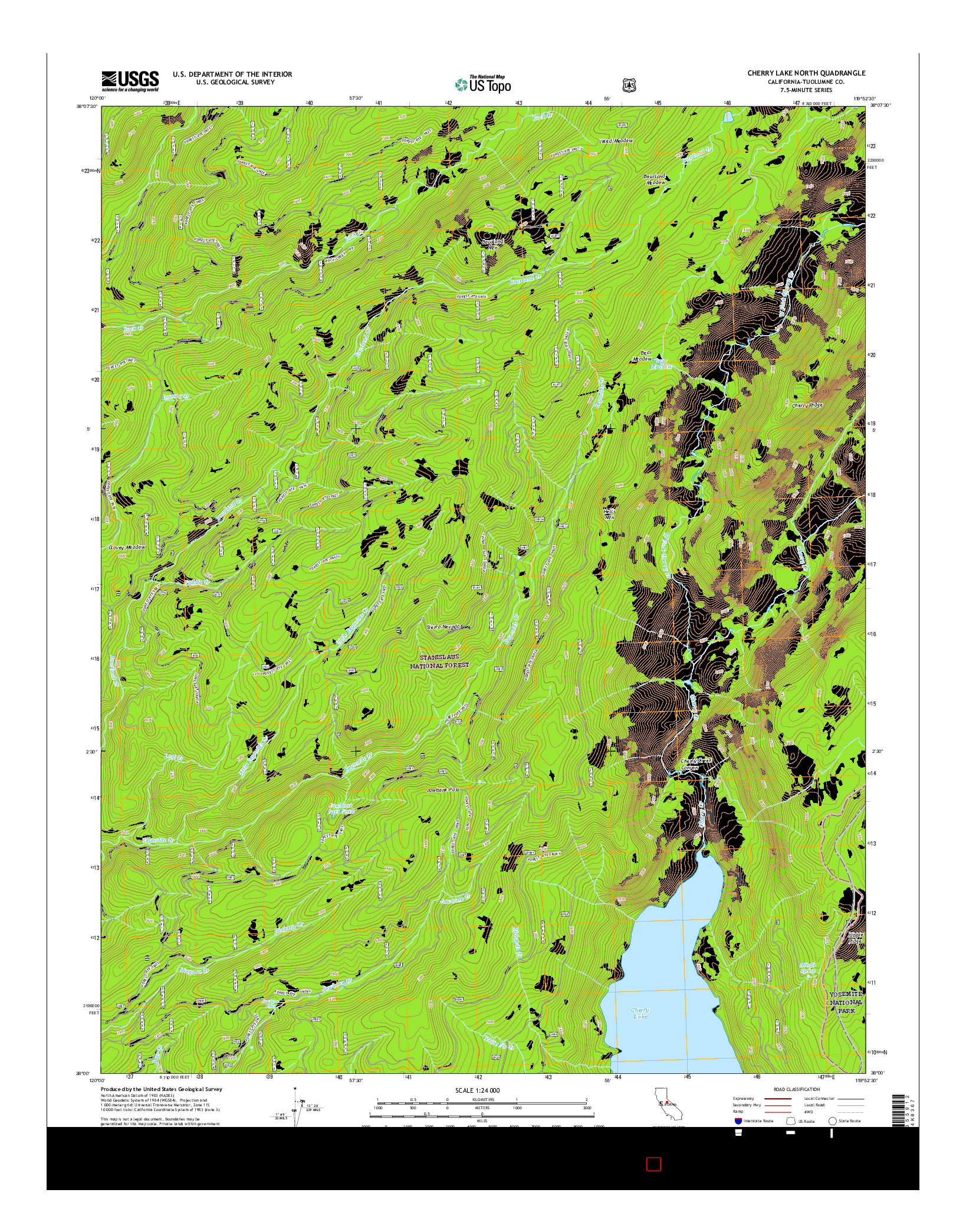USGS US TOPO 7.5-MINUTE MAP FOR CHERRY LAKE NORTH, CA 2015