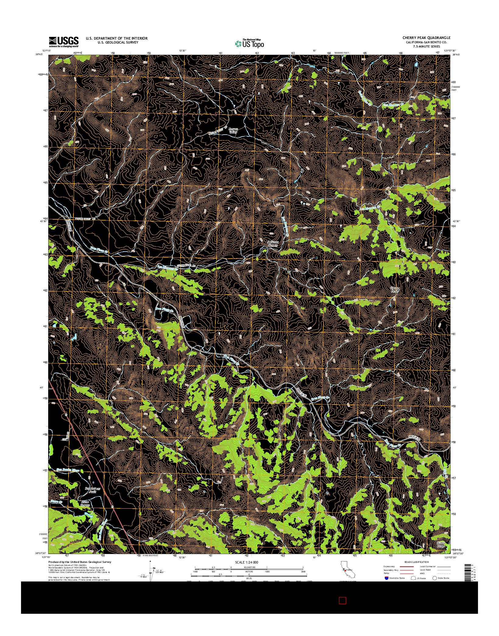 USGS US TOPO 7.5-MINUTE MAP FOR CHERRY PEAK, CA 2015