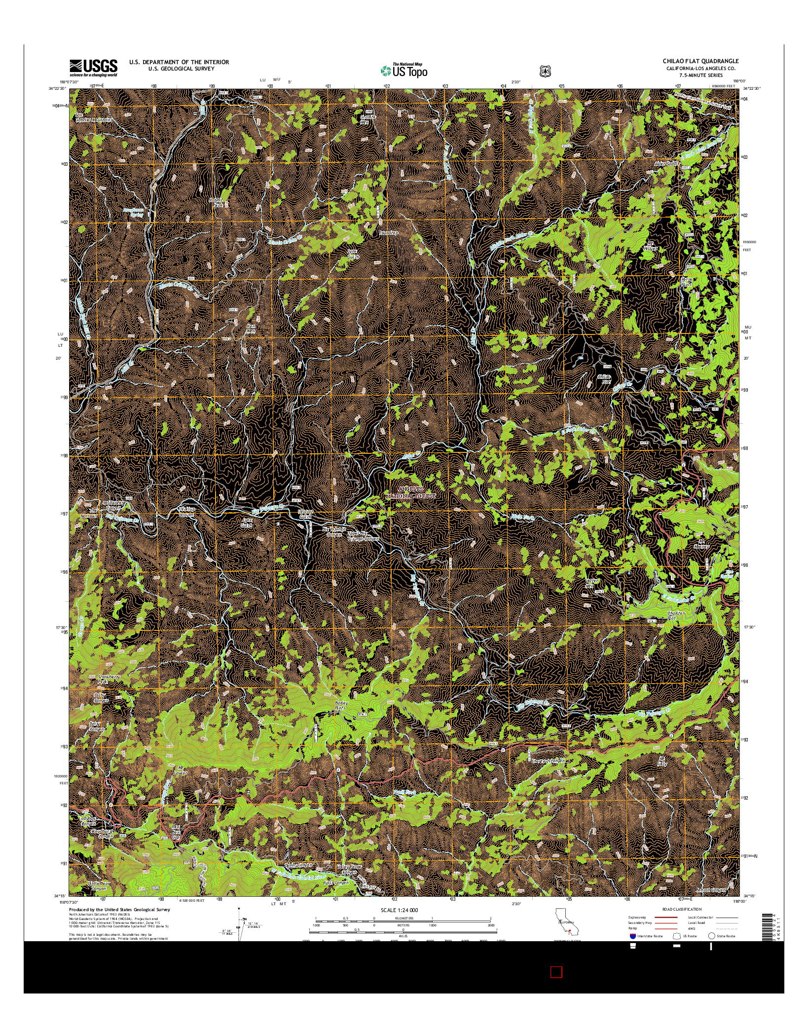 USGS US TOPO 7.5-MINUTE MAP FOR CHILAO FLAT, CA 2015