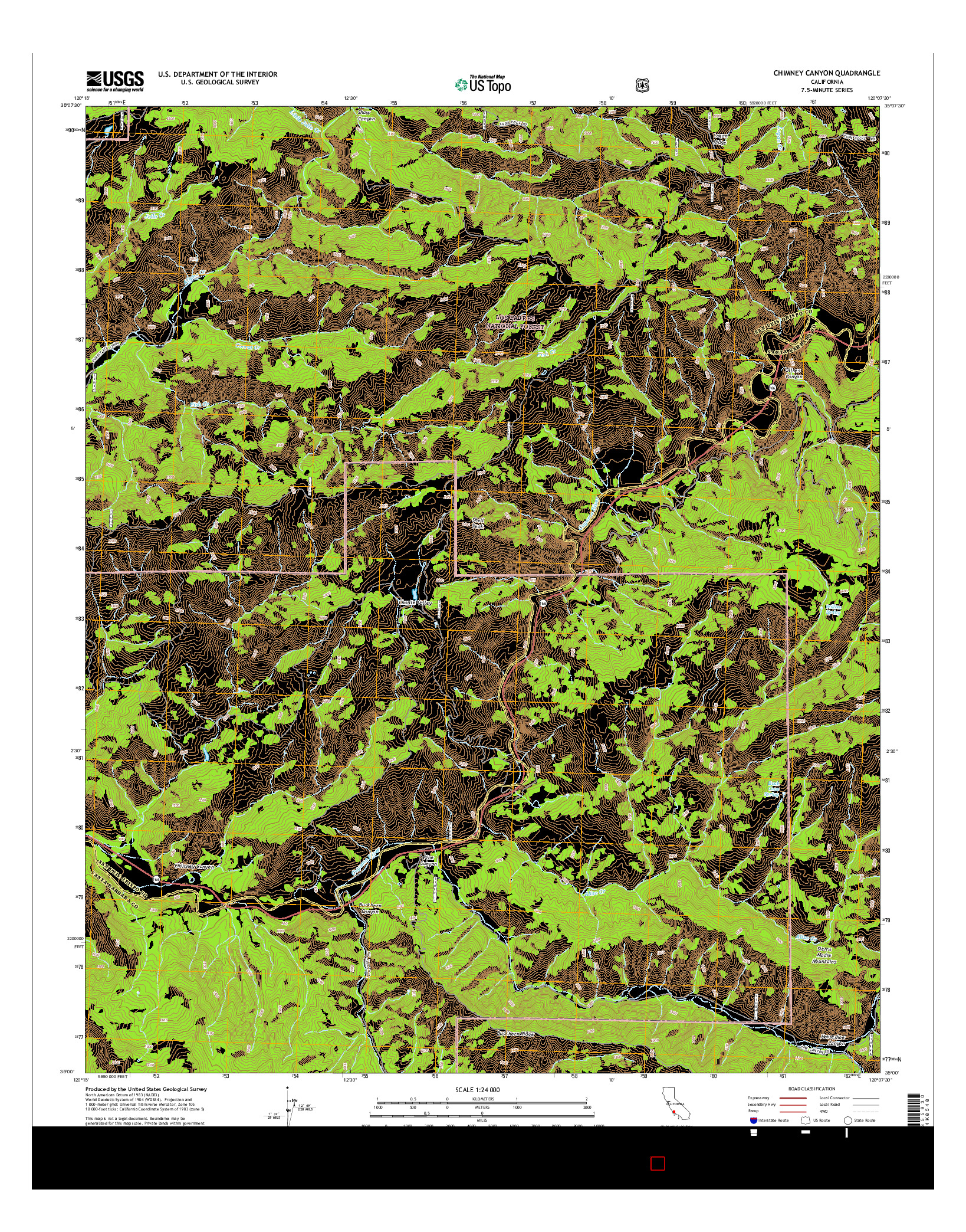 USGS US TOPO 7.5-MINUTE MAP FOR CHIMNEY CANYON, CA 2015