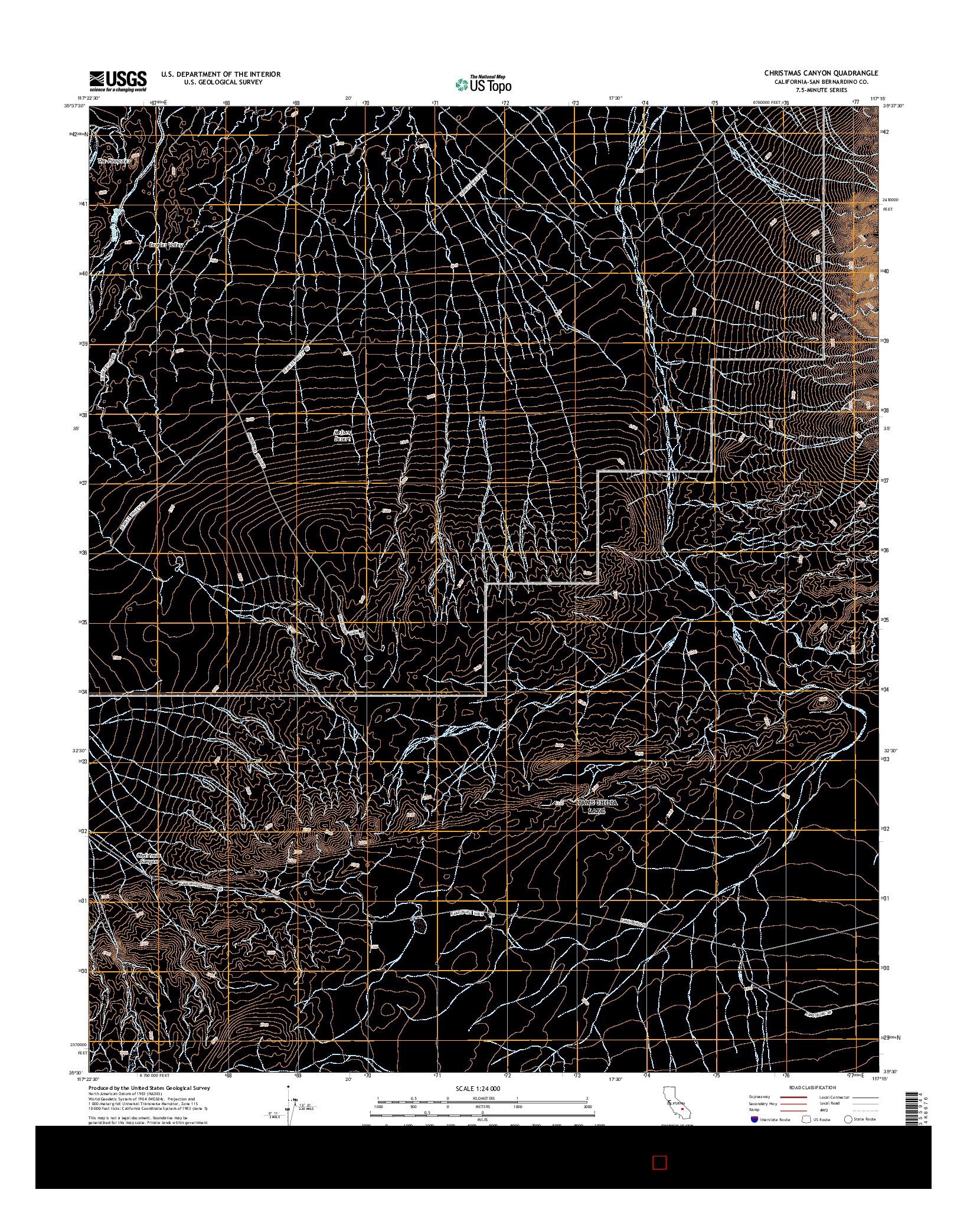 USGS US TOPO 7.5-MINUTE MAP FOR CHRISTMAS CANYON, CA 2015
