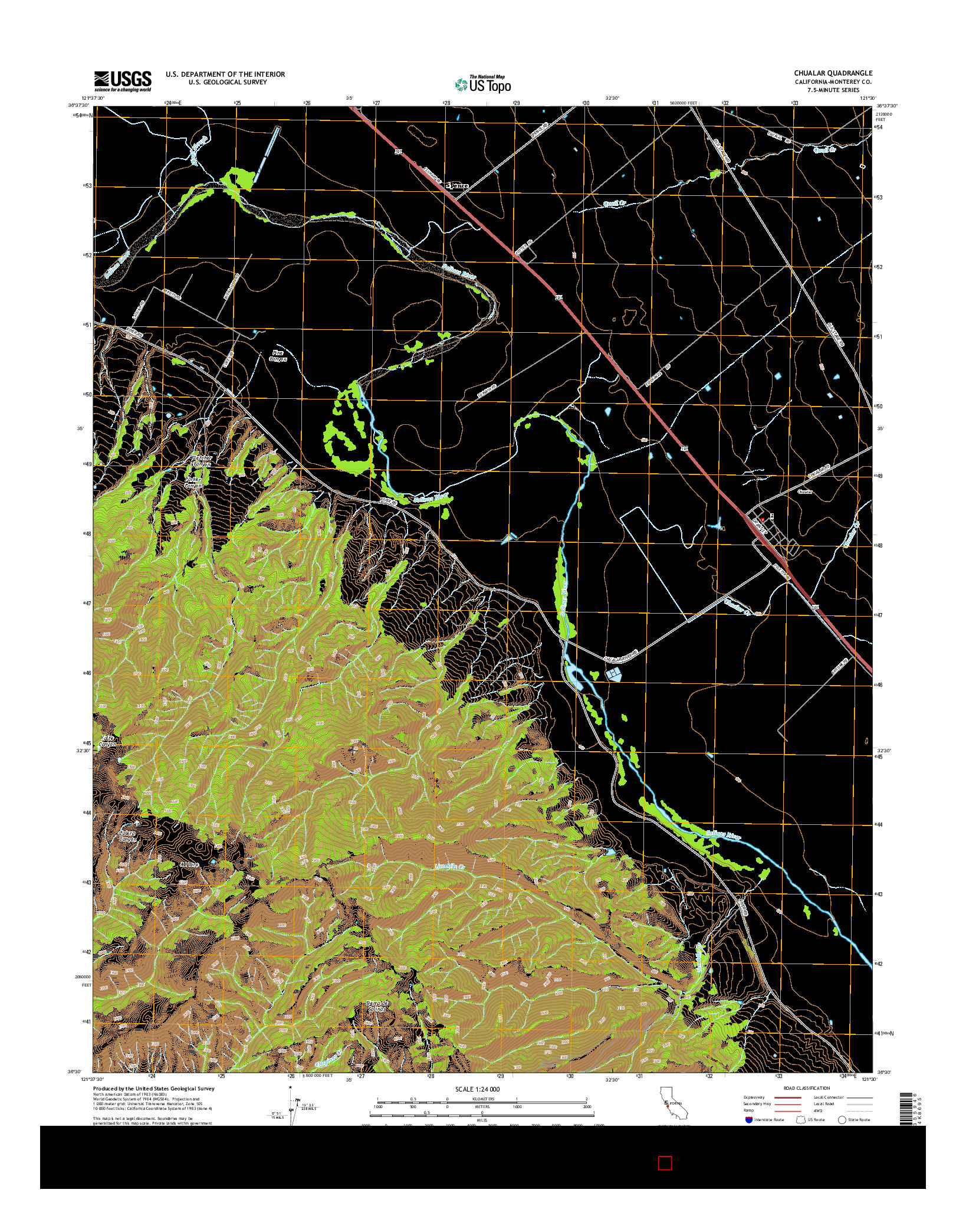 USGS US TOPO 7.5-MINUTE MAP FOR CHUALAR, CA 2015