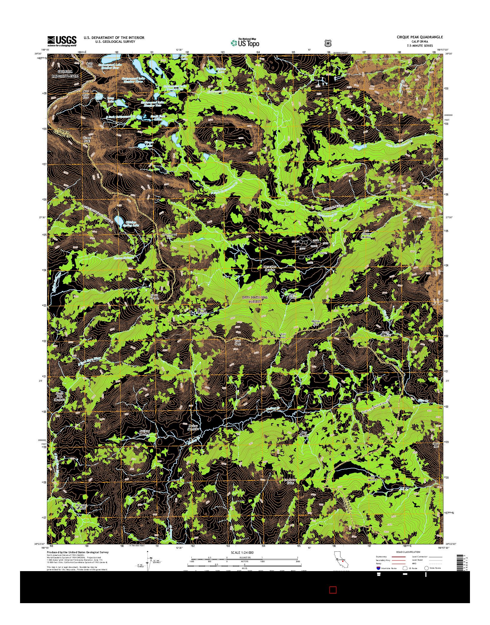 USGS US TOPO 7.5-MINUTE MAP FOR CIRQUE PEAK, CA 2015
