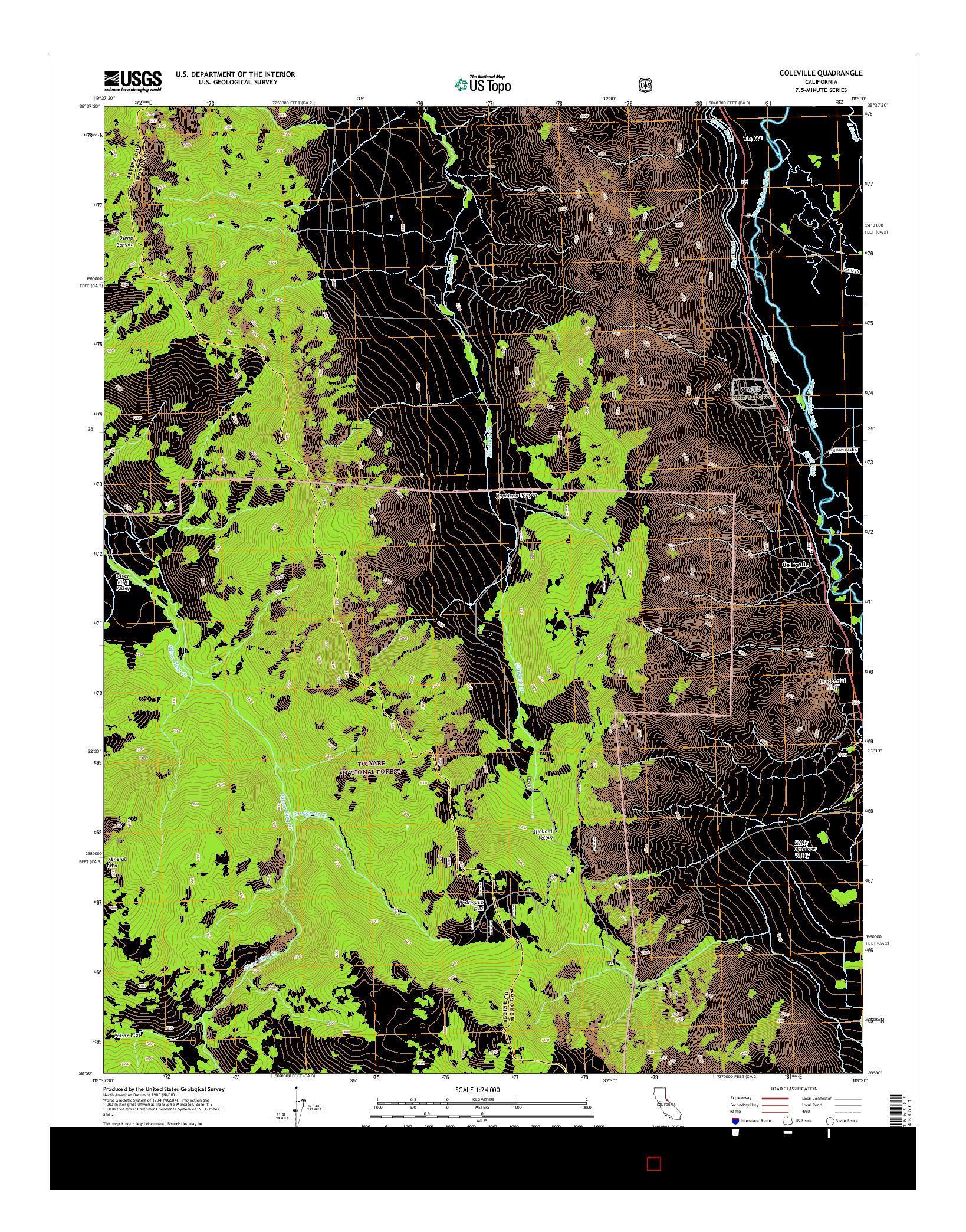 USGS US TOPO 7.5-MINUTE MAP FOR COLEVILLE, CA 2015