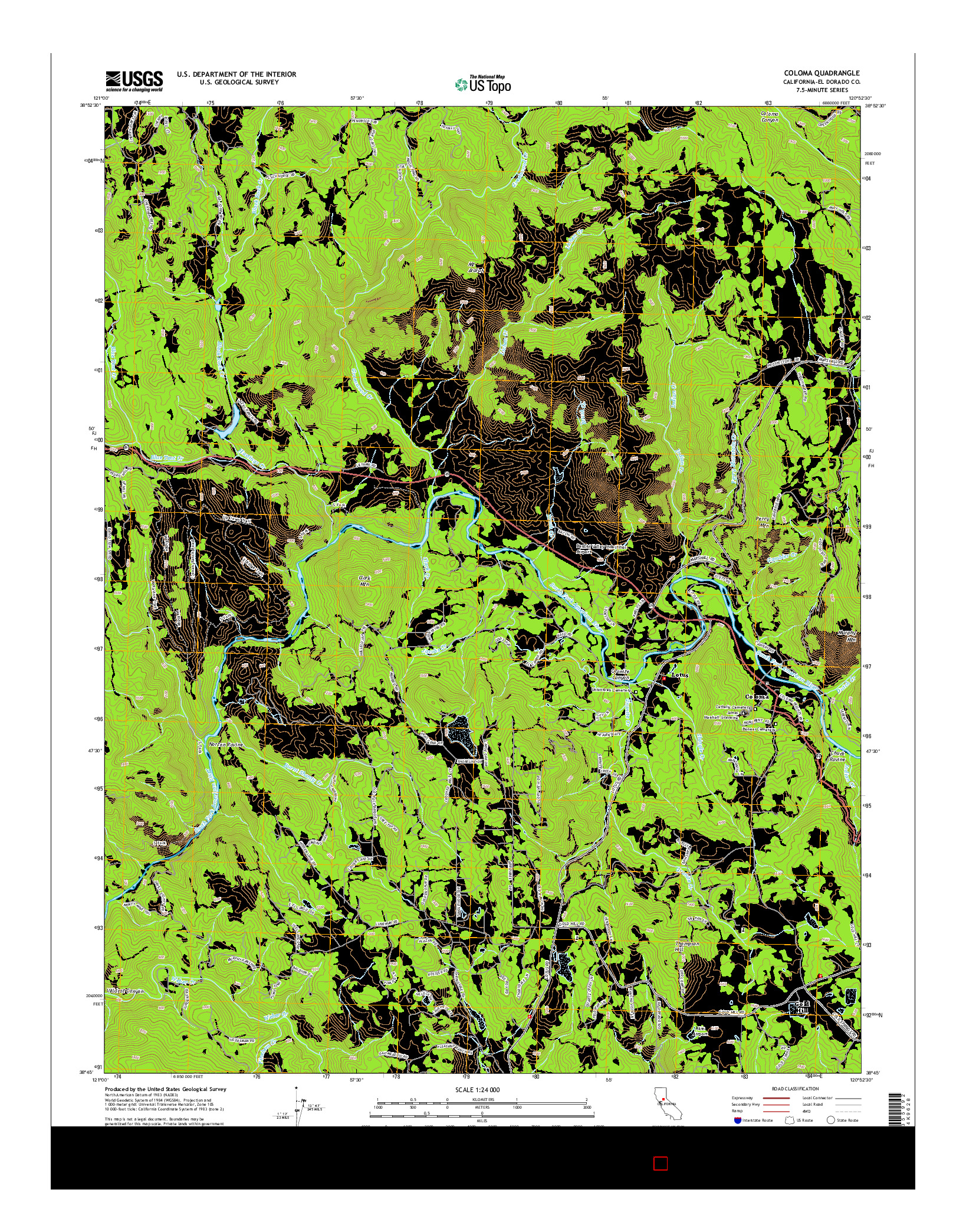 USGS US TOPO 7.5-MINUTE MAP FOR COLOMA, CA 2015