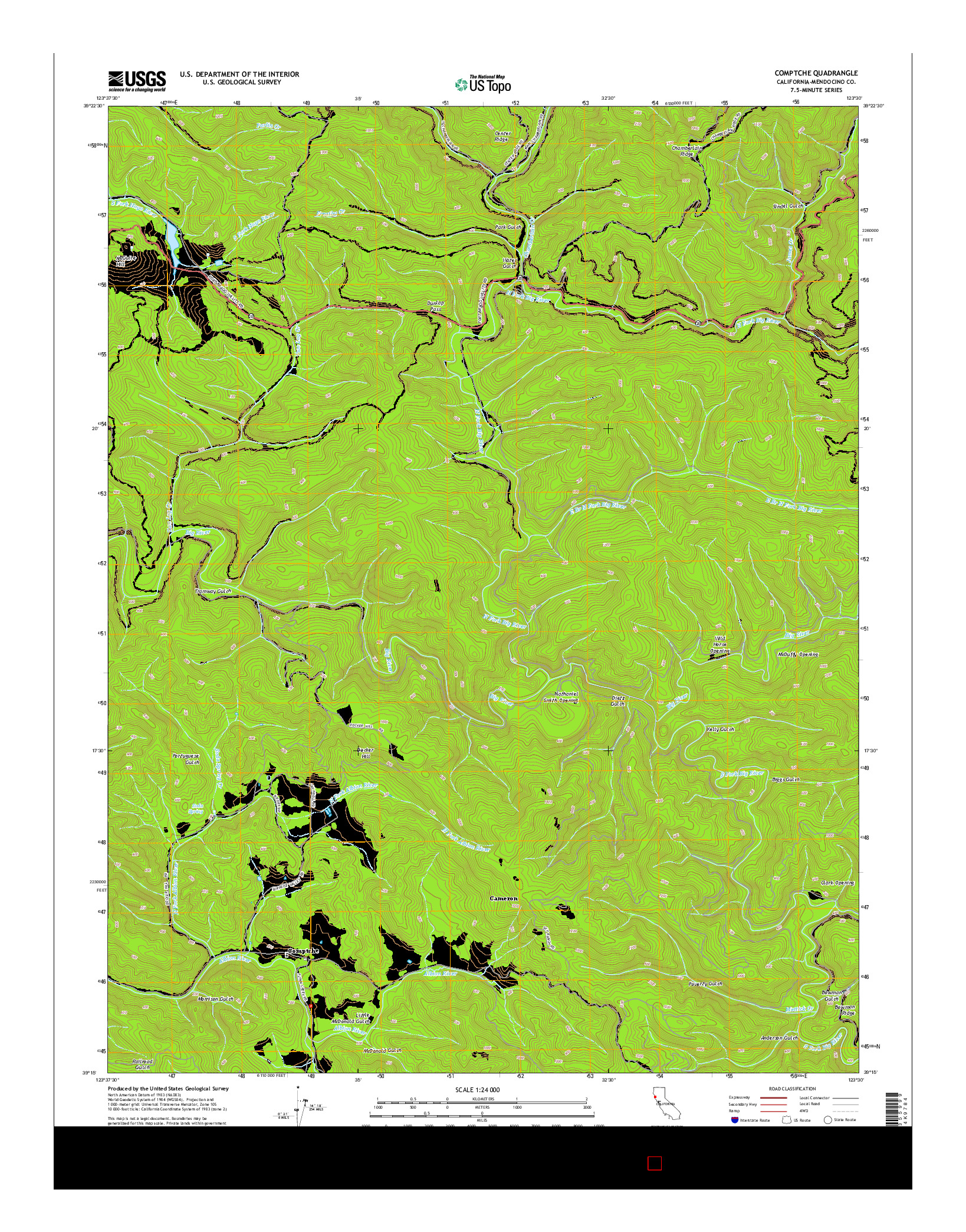 USGS US TOPO 7.5-MINUTE MAP FOR COMPTCHE, CA 2015
