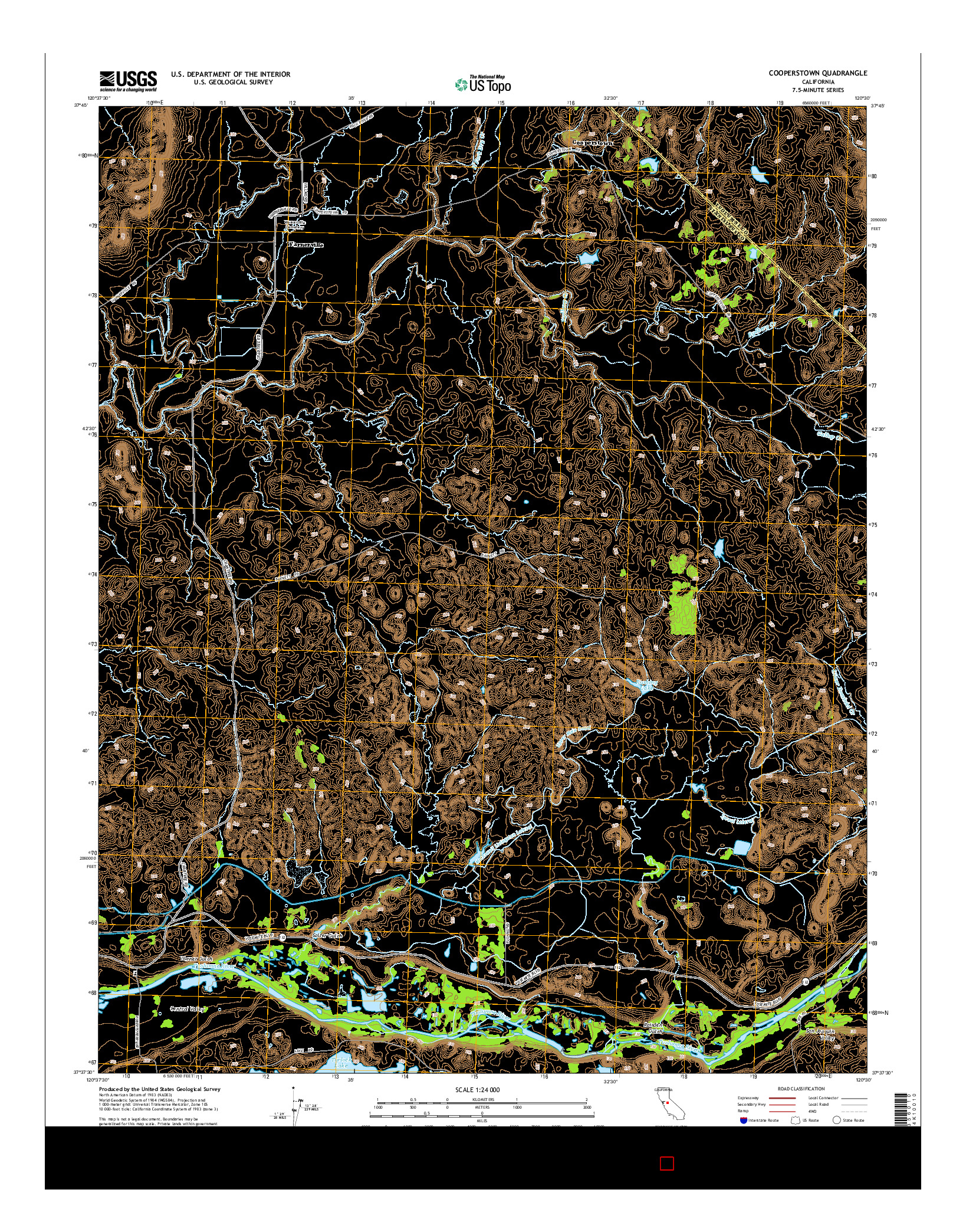 USGS US TOPO 7.5-MINUTE MAP FOR COOPERSTOWN, CA 2015