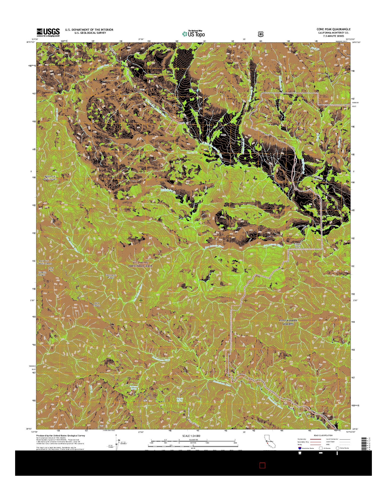 USGS US TOPO 7.5-MINUTE MAP FOR CONE PEAK, CA 2015