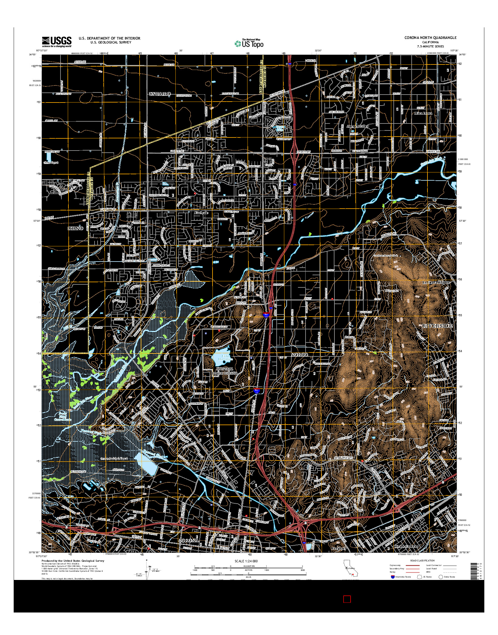 USGS US TOPO 7.5-MINUTE MAP FOR CORONA NORTH, CA 2015
