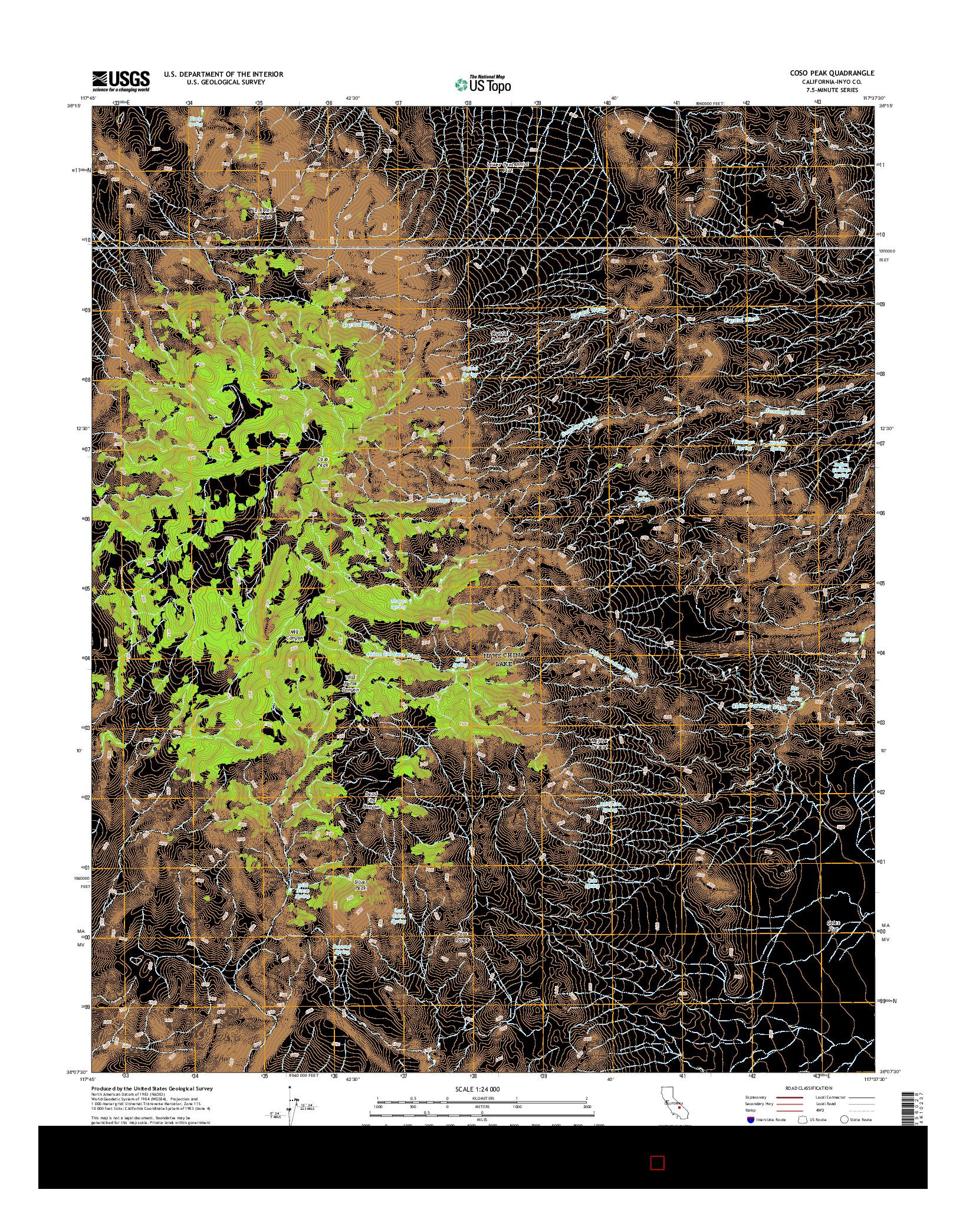 USGS US TOPO 7.5-MINUTE MAP FOR COSO PEAK, CA 2015