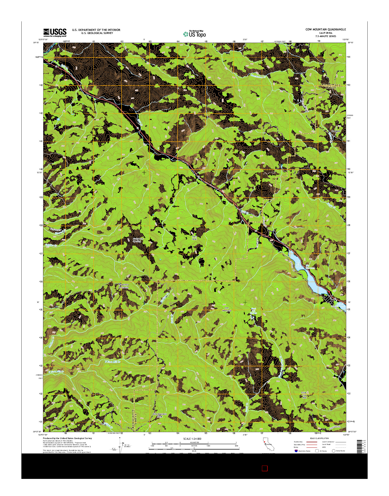 USGS US TOPO 7.5-MINUTE MAP FOR COW MOUNTAIN, CA 2015
