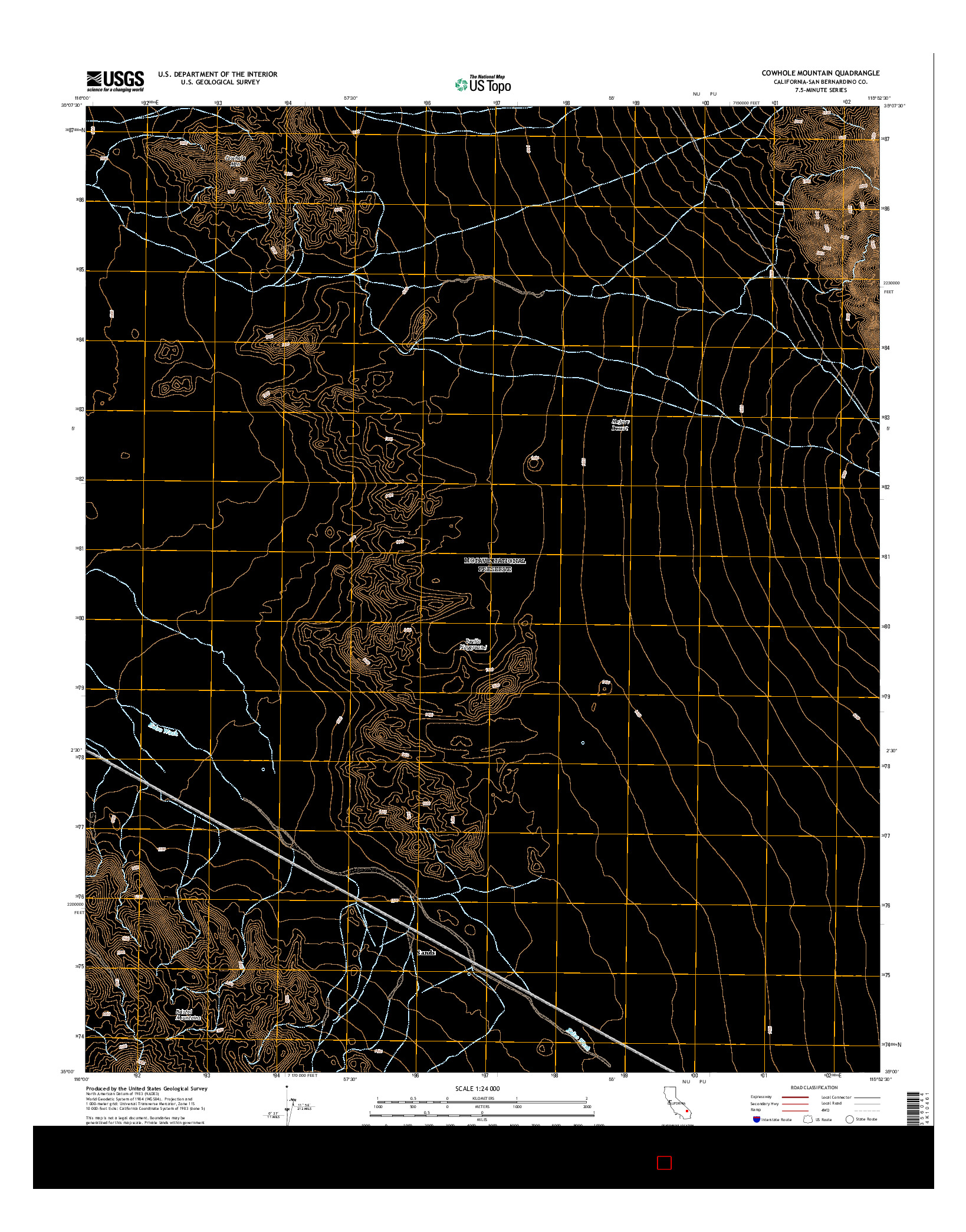 USGS US TOPO 7.5-MINUTE MAP FOR COWHOLE MOUNTAIN, CA 2015