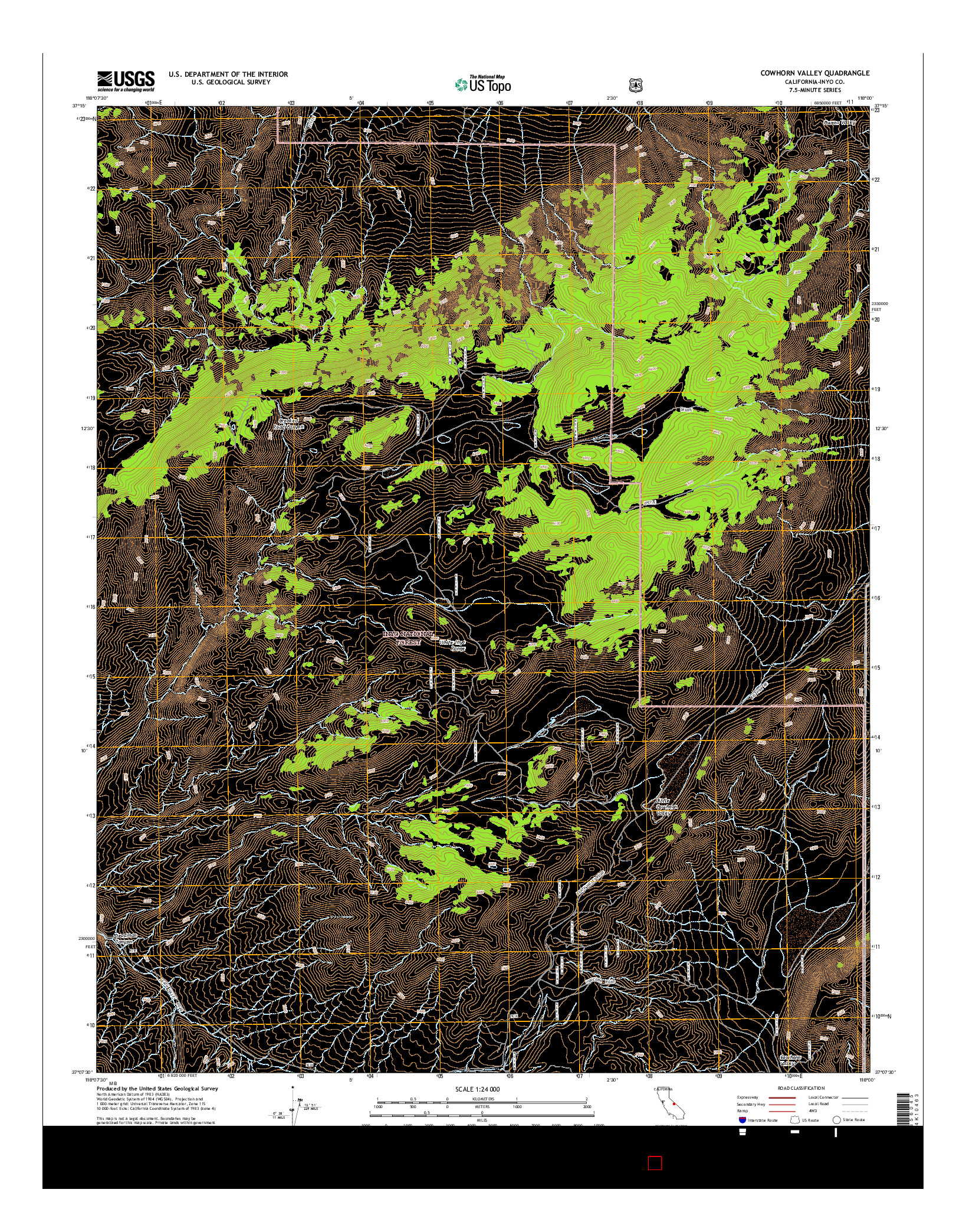 USGS US TOPO 7.5-MINUTE MAP FOR COWHORN VALLEY, CA 2015