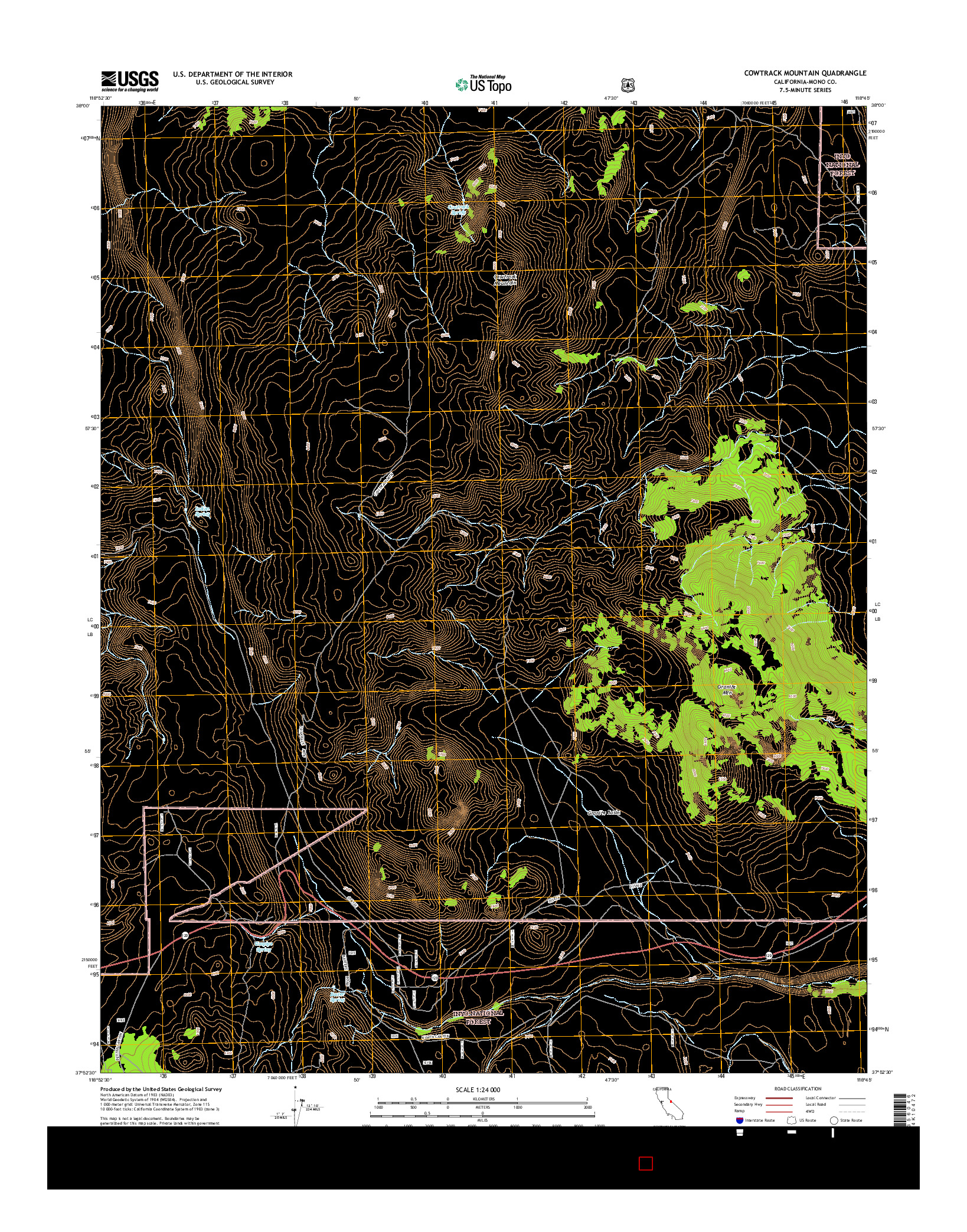 USGS US TOPO 7.5-MINUTE MAP FOR COWTRACK MOUNTAIN, CA 2015