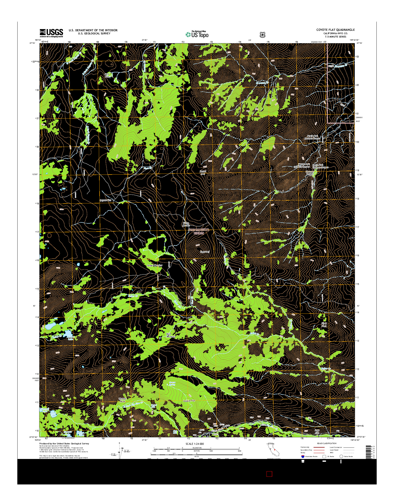 USGS US TOPO 7.5-MINUTE MAP FOR COYOTE FLAT, CA 2015