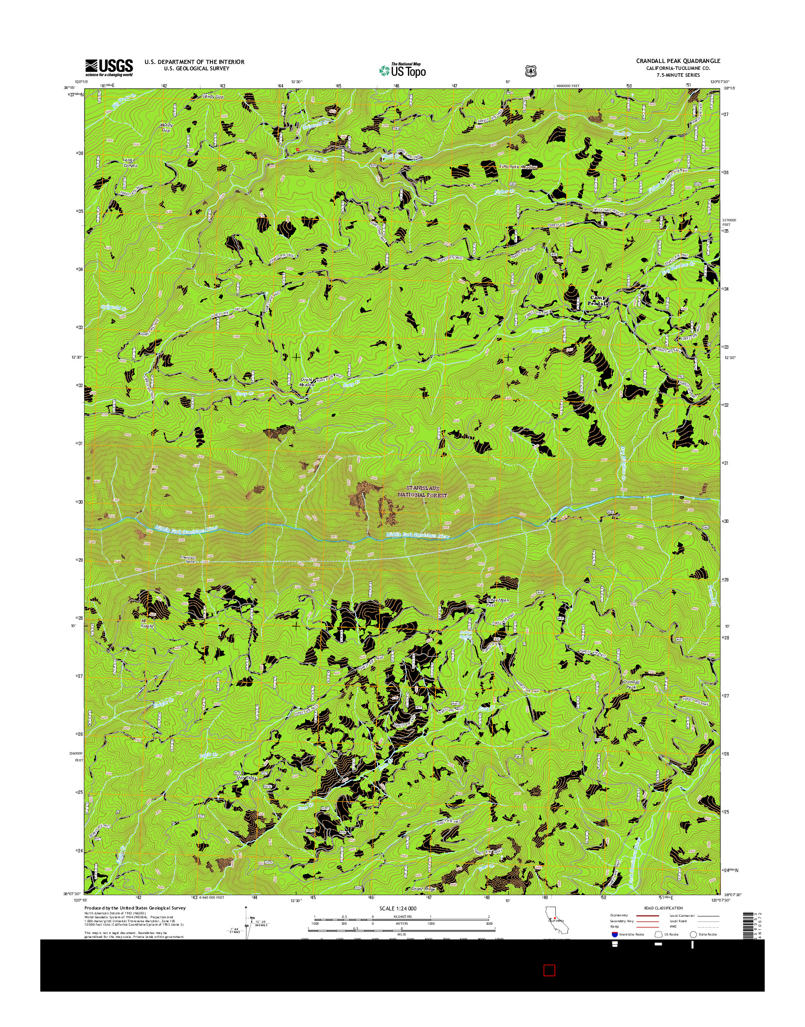 USGS US TOPO 7.5-MINUTE MAP FOR CRANDALL PEAK, CA 2015