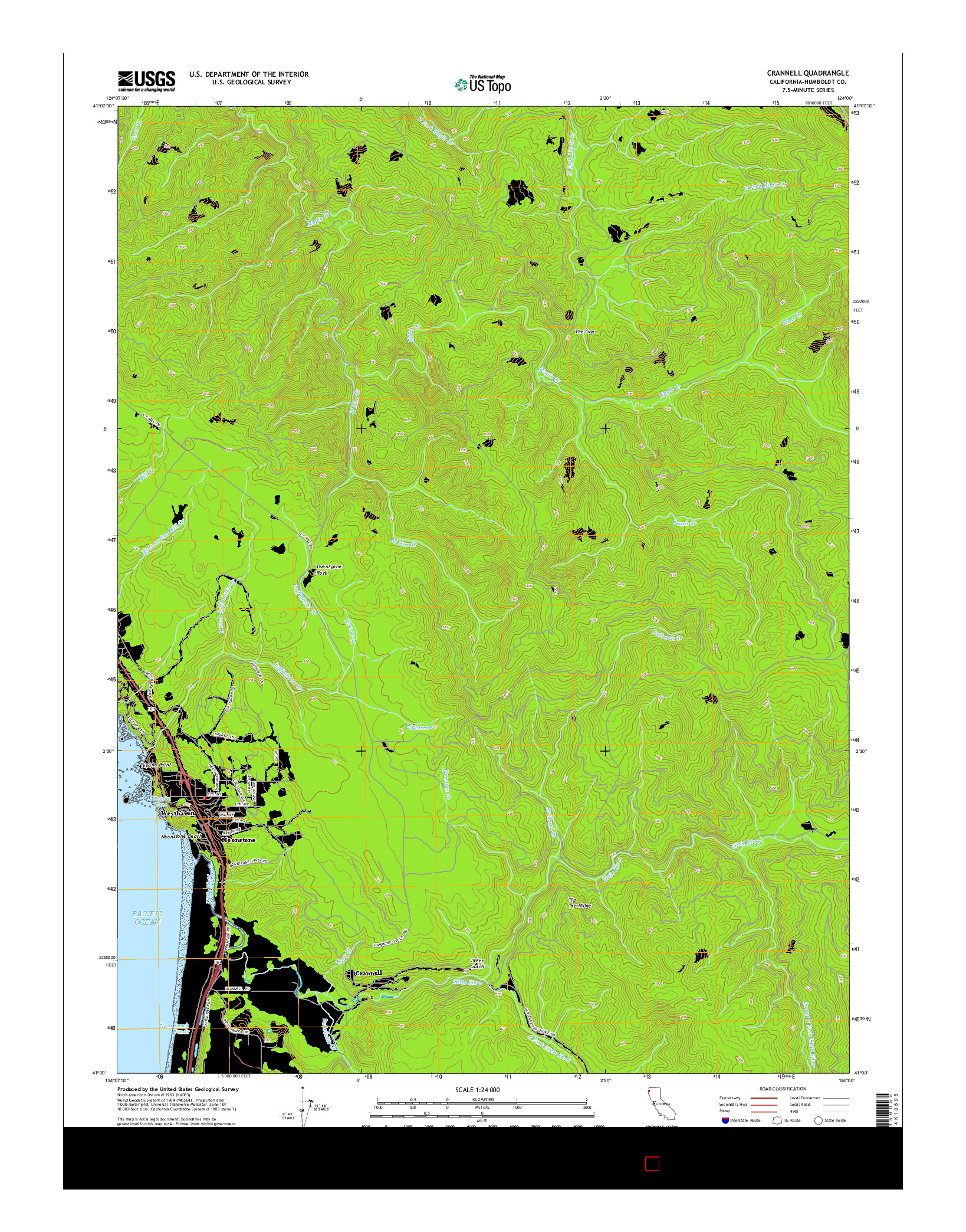 USGS US TOPO 7.5-MINUTE MAP FOR CRANNELL, CA 2015