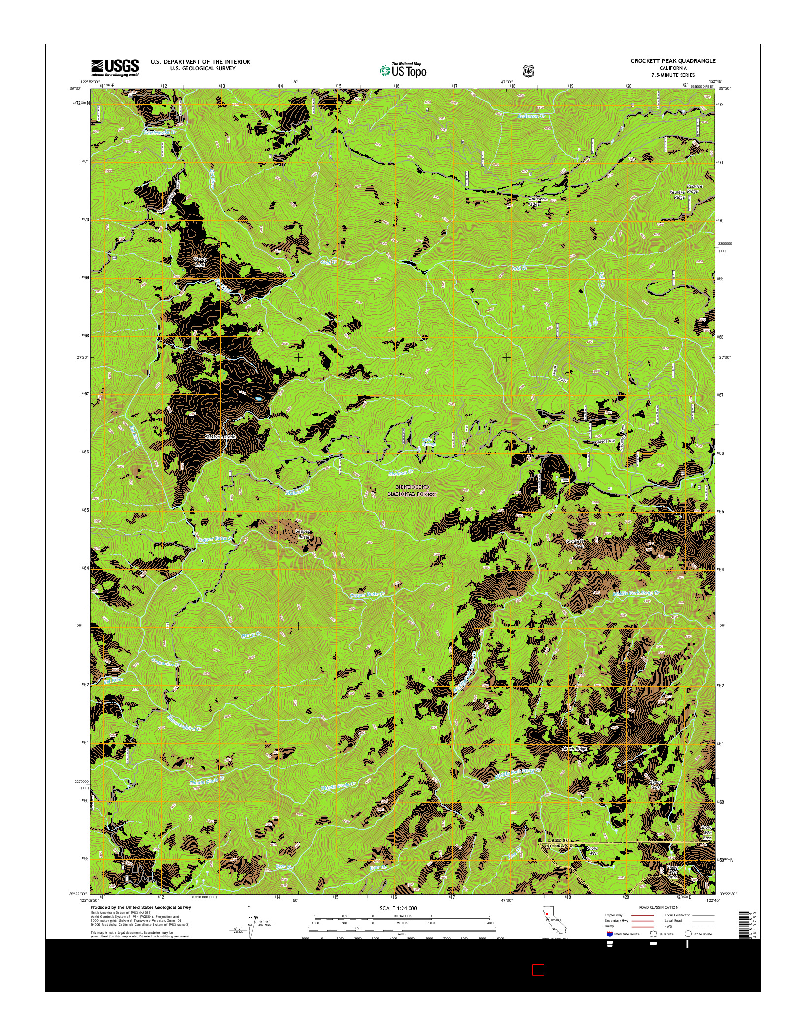 USGS US TOPO 7.5-MINUTE MAP FOR CROCKETT PEAK, CA 2015