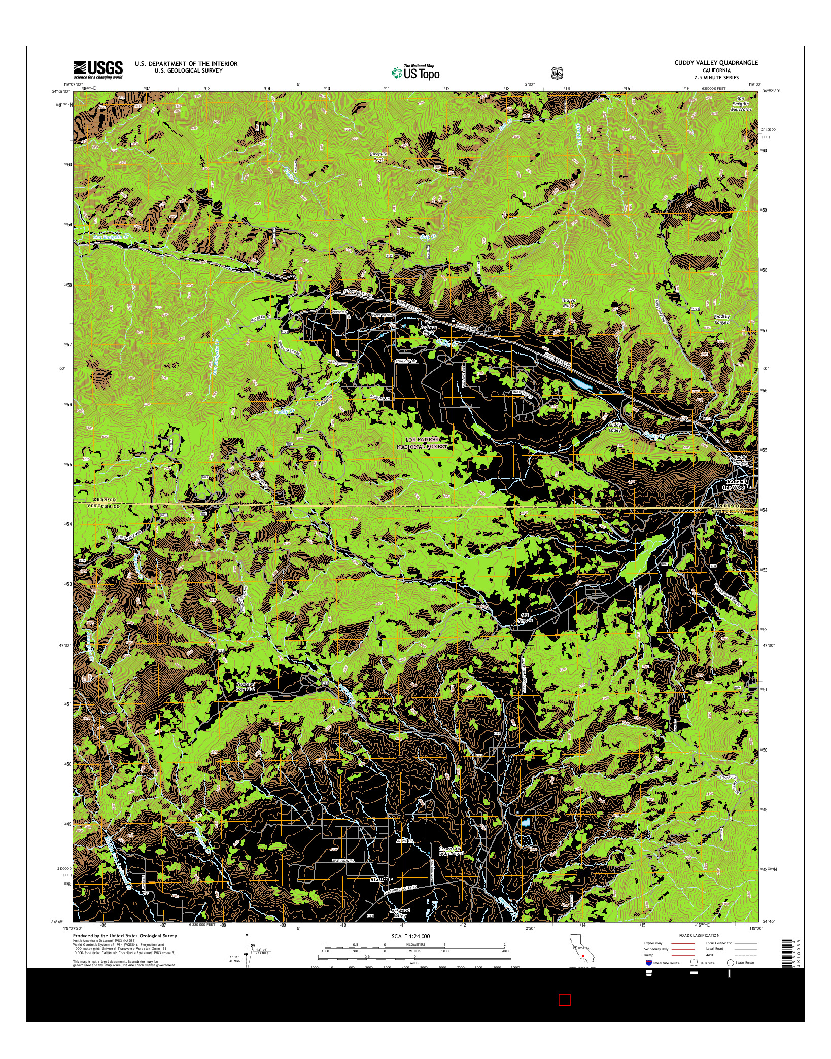 USGS US TOPO 7.5-MINUTE MAP FOR CUDDY VALLEY, CA 2015