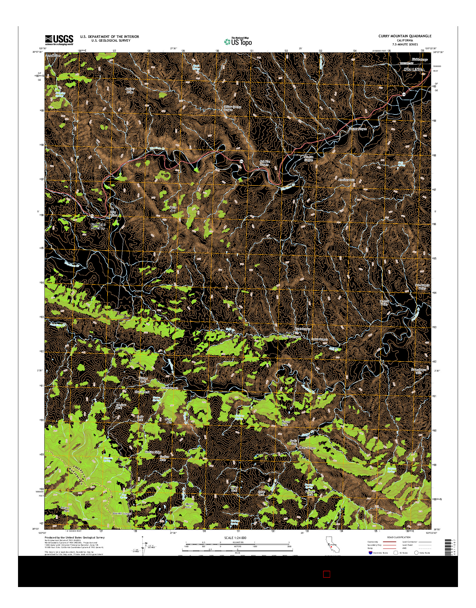 USGS US TOPO 7.5-MINUTE MAP FOR CURRY MOUNTAIN, CA 2015