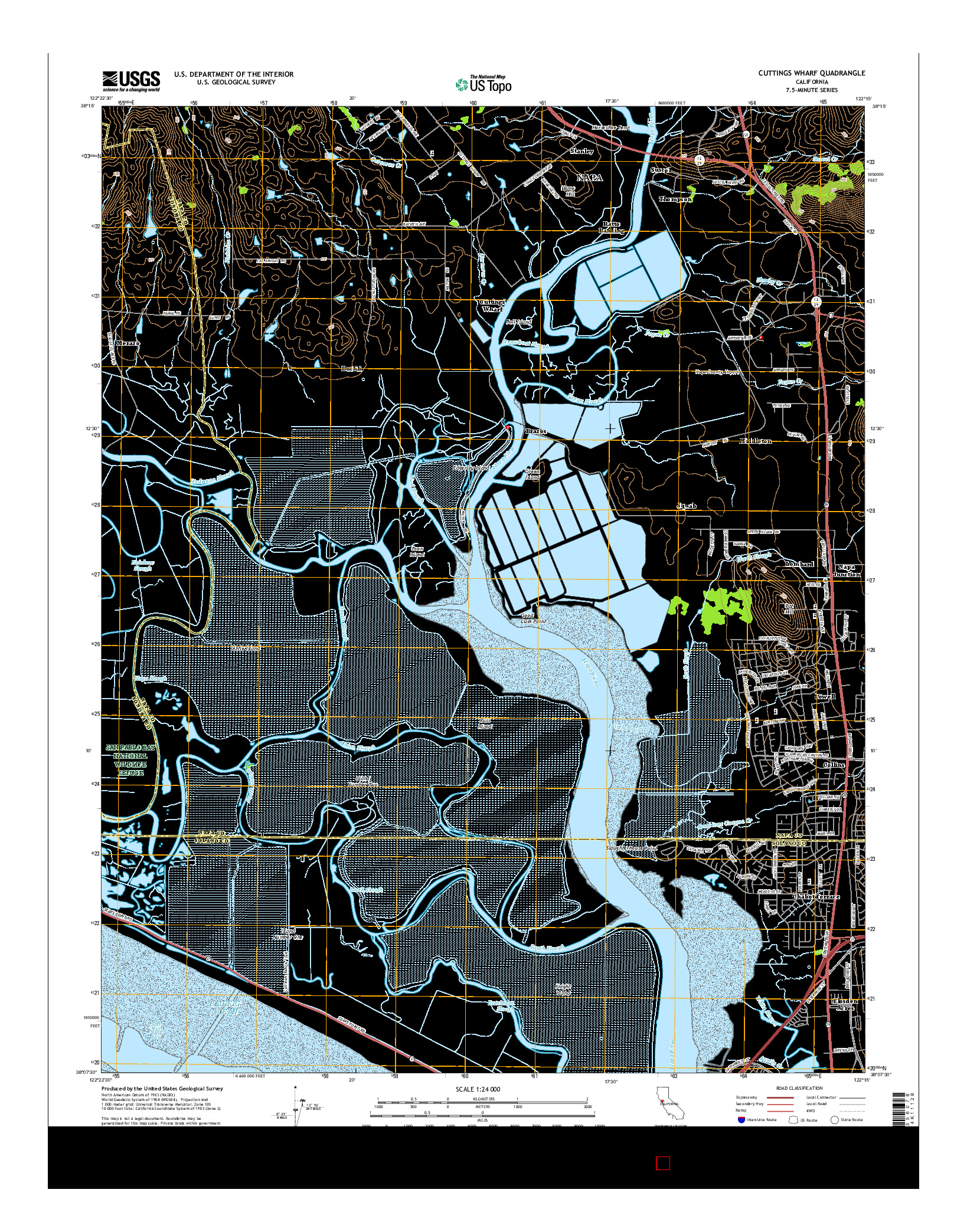USGS US TOPO 7.5-MINUTE MAP FOR CUTTINGS WHARF, CA 2015