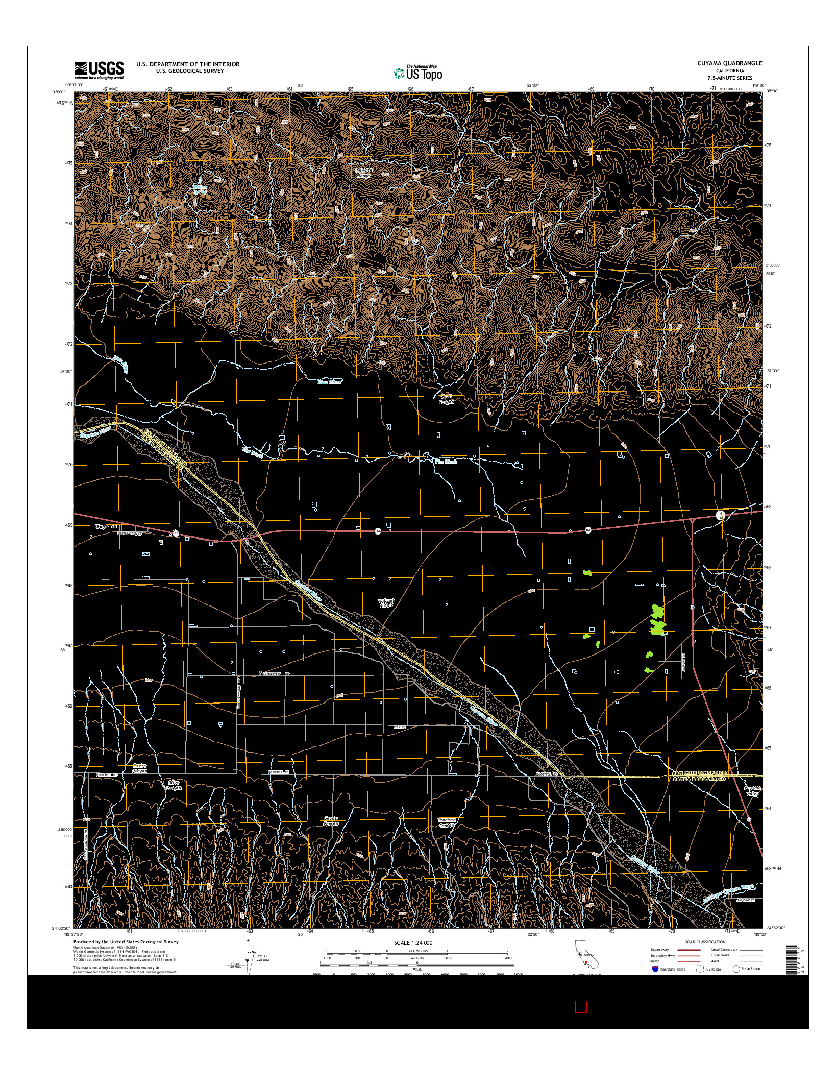 USGS US TOPO 7.5-MINUTE MAP FOR CUYAMA, CA 2015