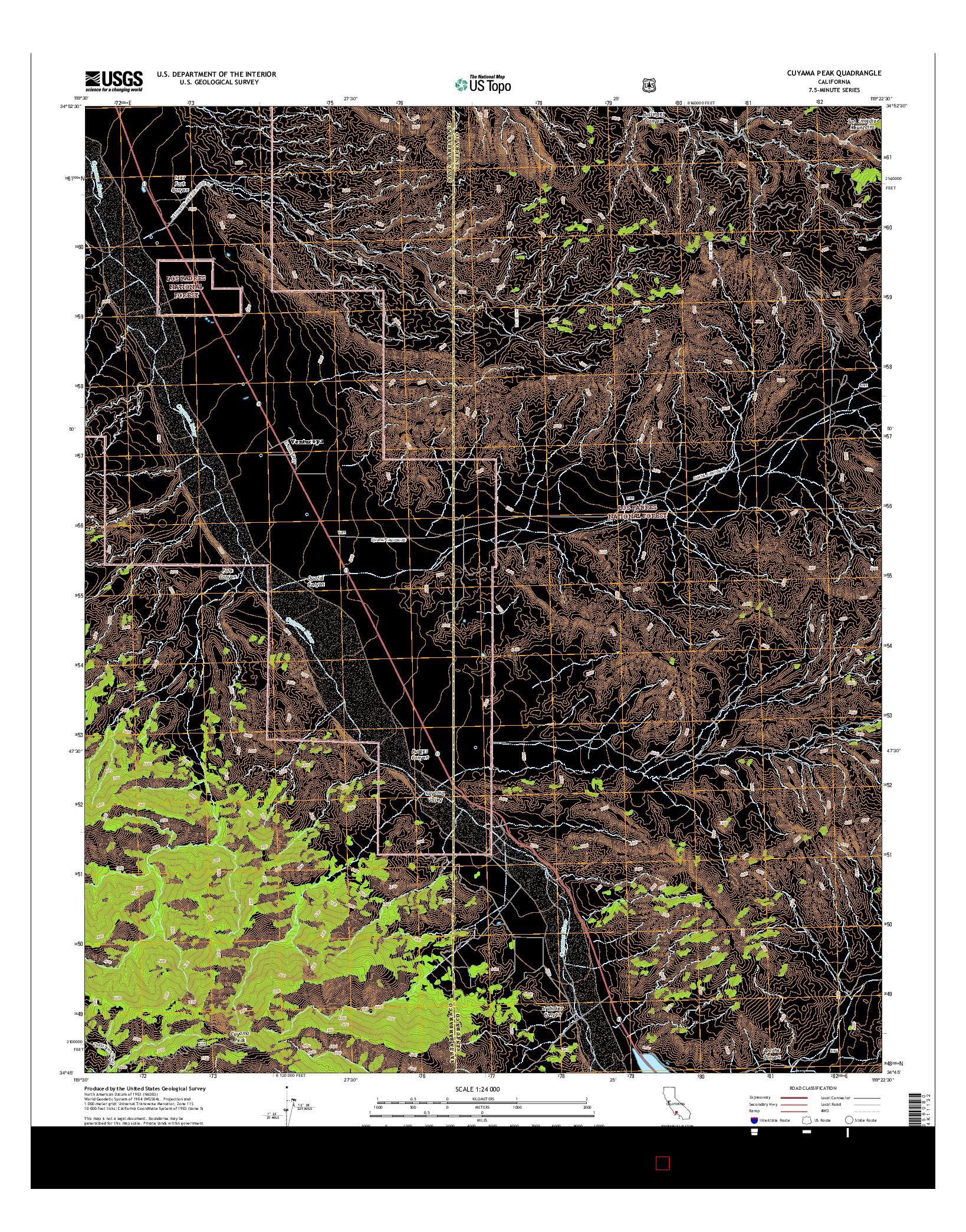 USGS US TOPO 7.5-MINUTE MAP FOR CUYAMA PEAK, CA 2015